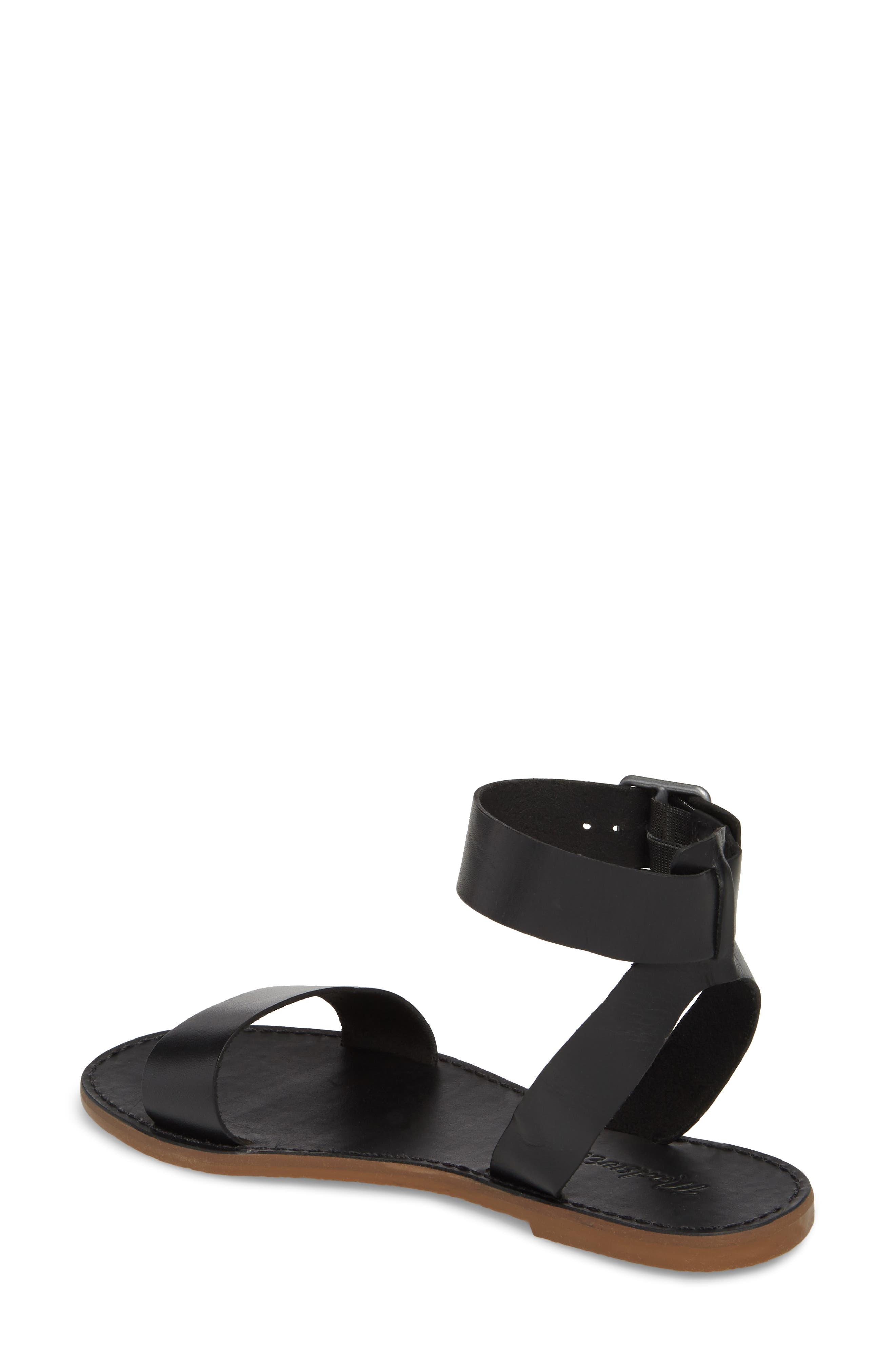 The Boardwalk Ankle Strap Sandal,                             Alternate thumbnail 2, color,                             True Black Leather