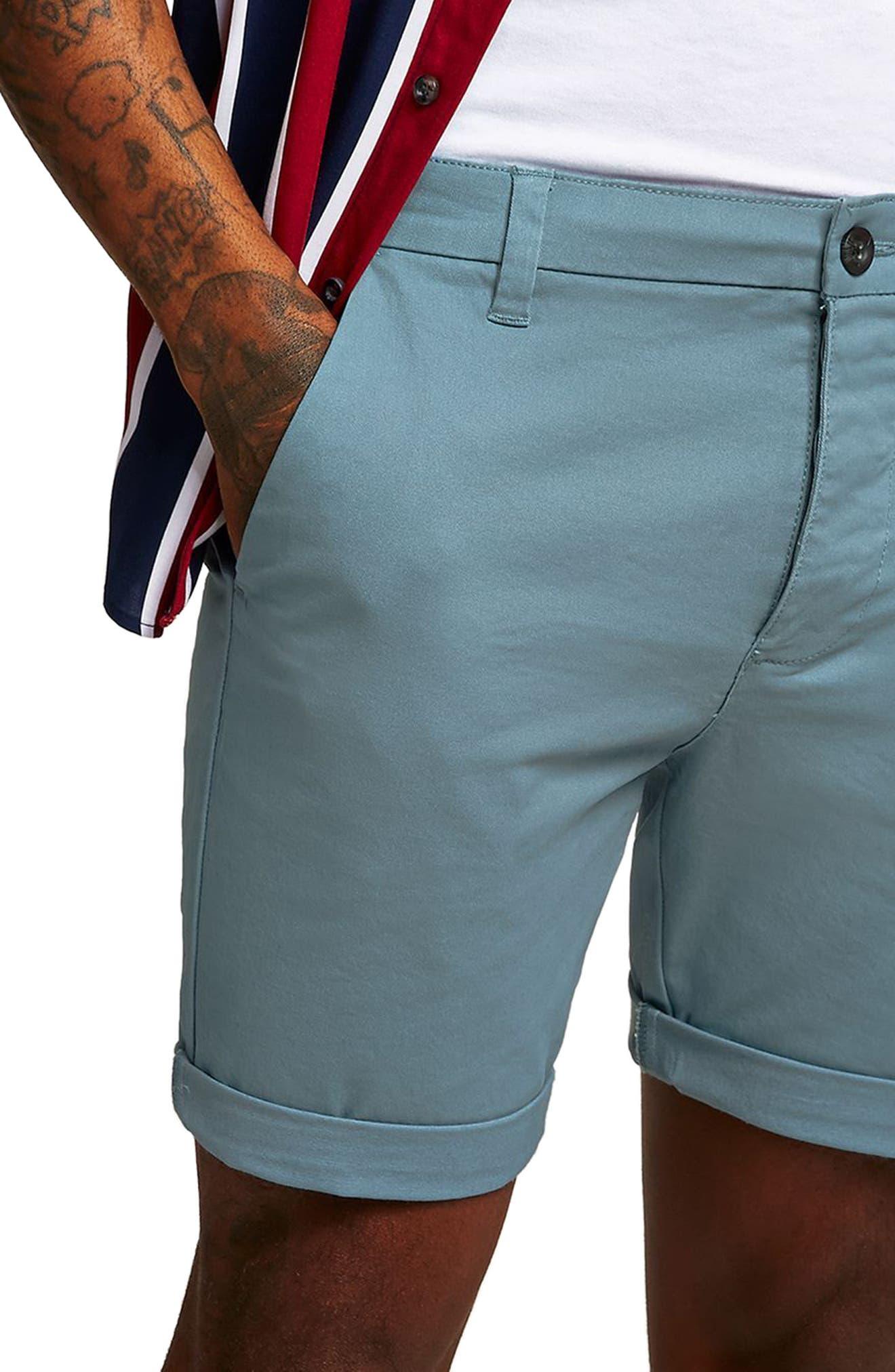 Skinny Fit Chino Shorts,                             Alternate thumbnail 3, color,                             Dark Blue