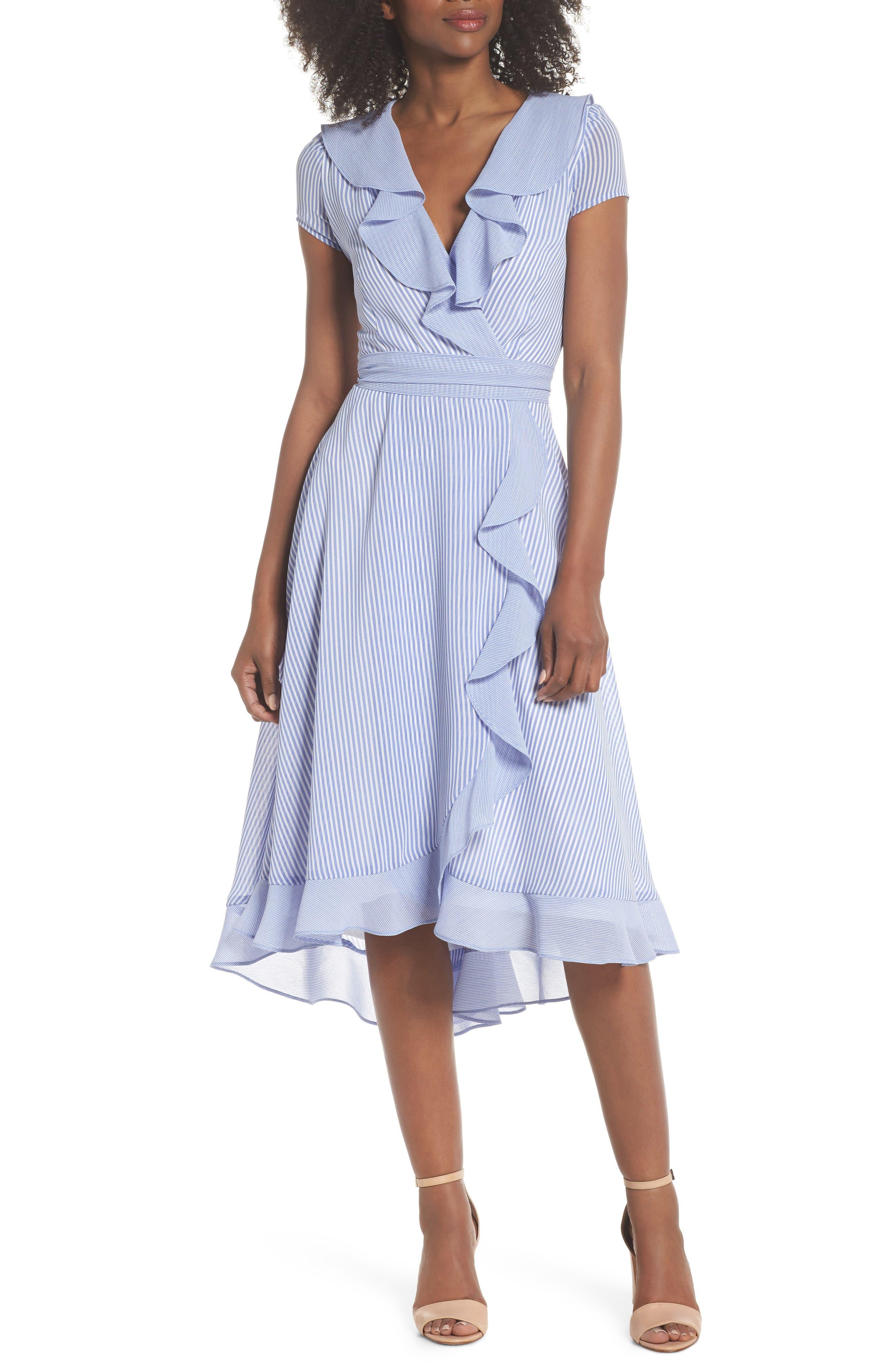 Stripe Faux Wrap Dress,                         Main,                         color, Ivory/ Chambray