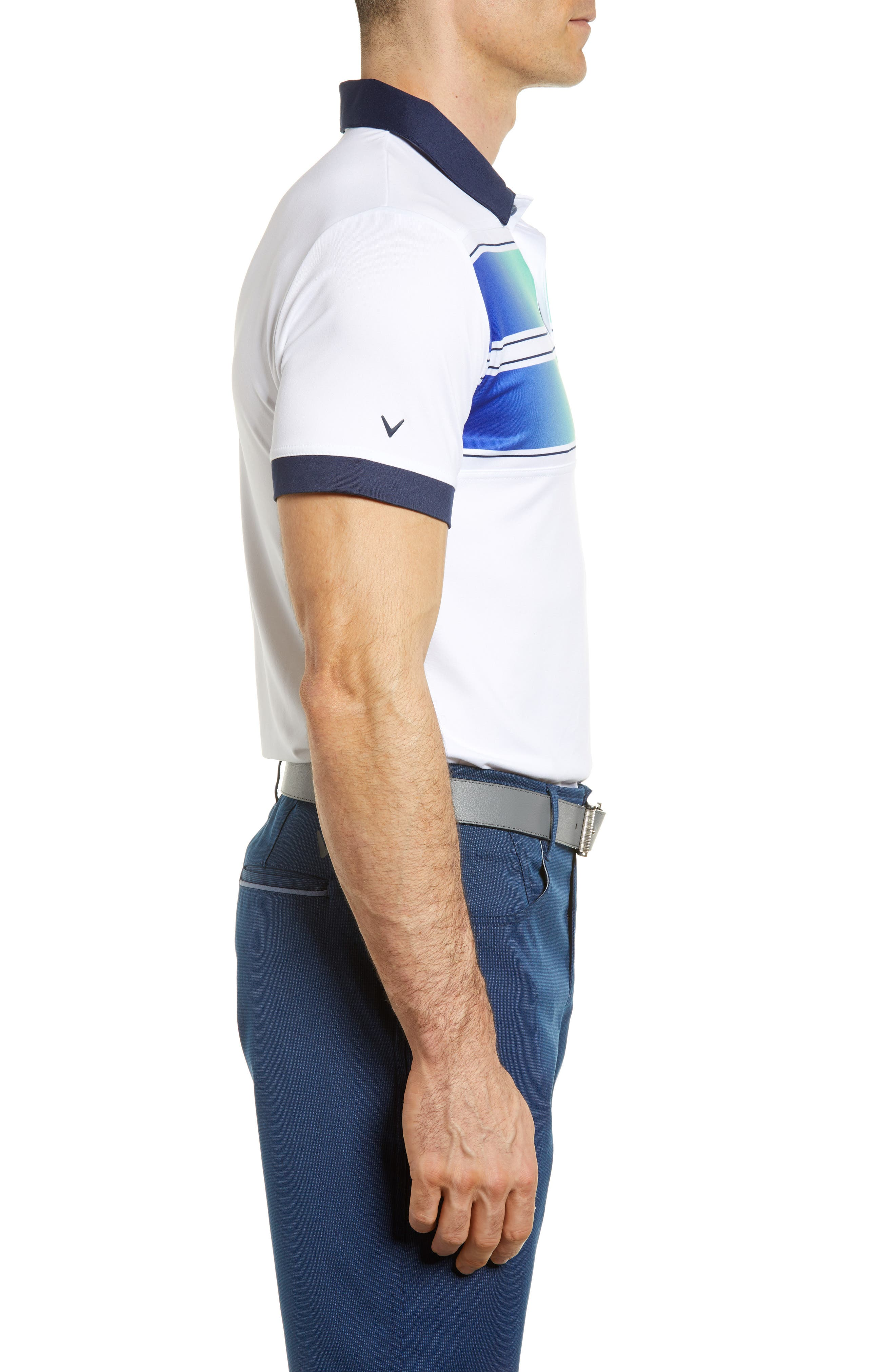 Slim Fit Double Chest Polo,                             Alternate thumbnail 3, color,                             Bright White