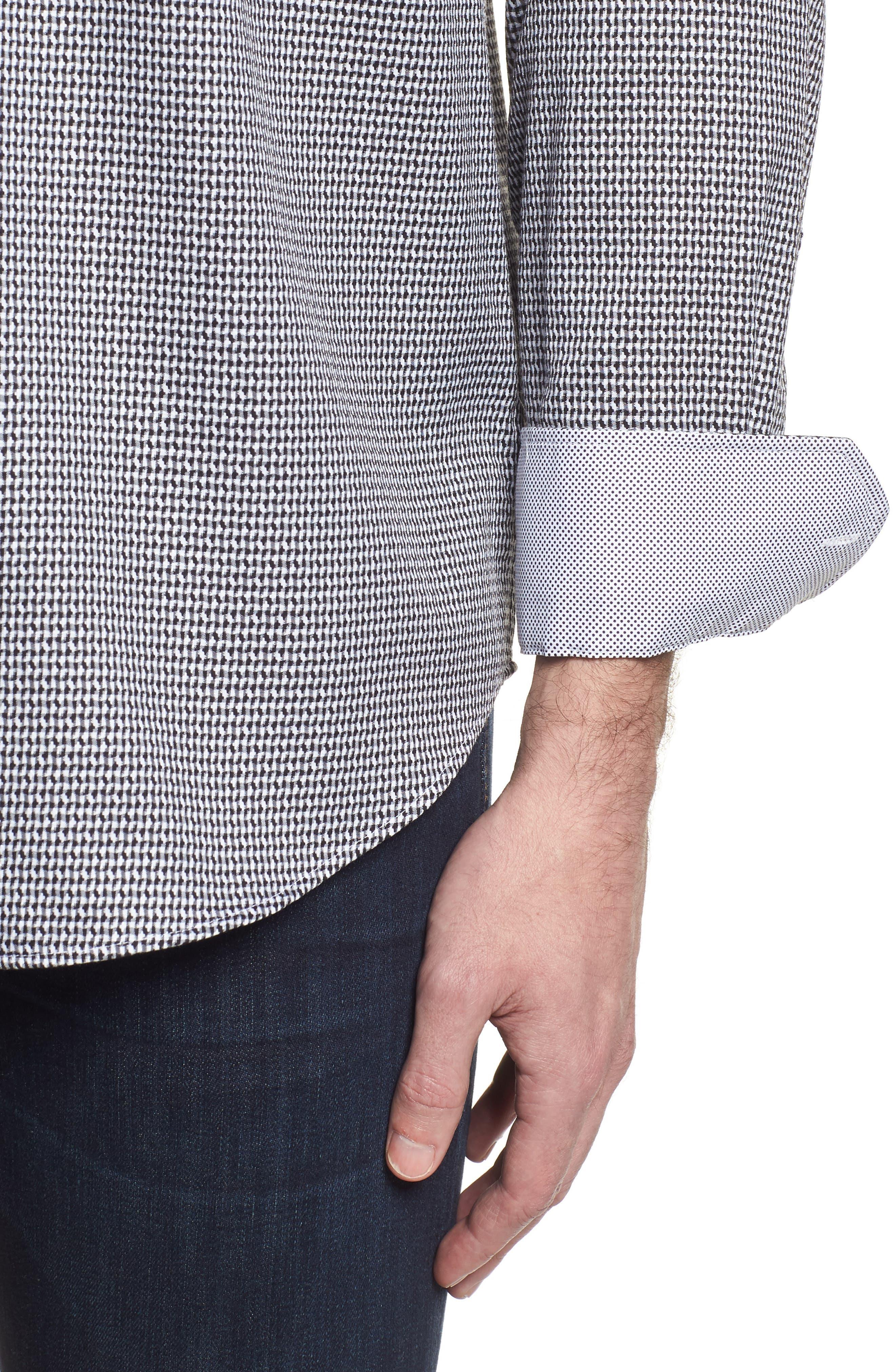 Classic Fit Lines of Distinction Print Sport Shirt,                             Alternate thumbnail 4, color,                             Black