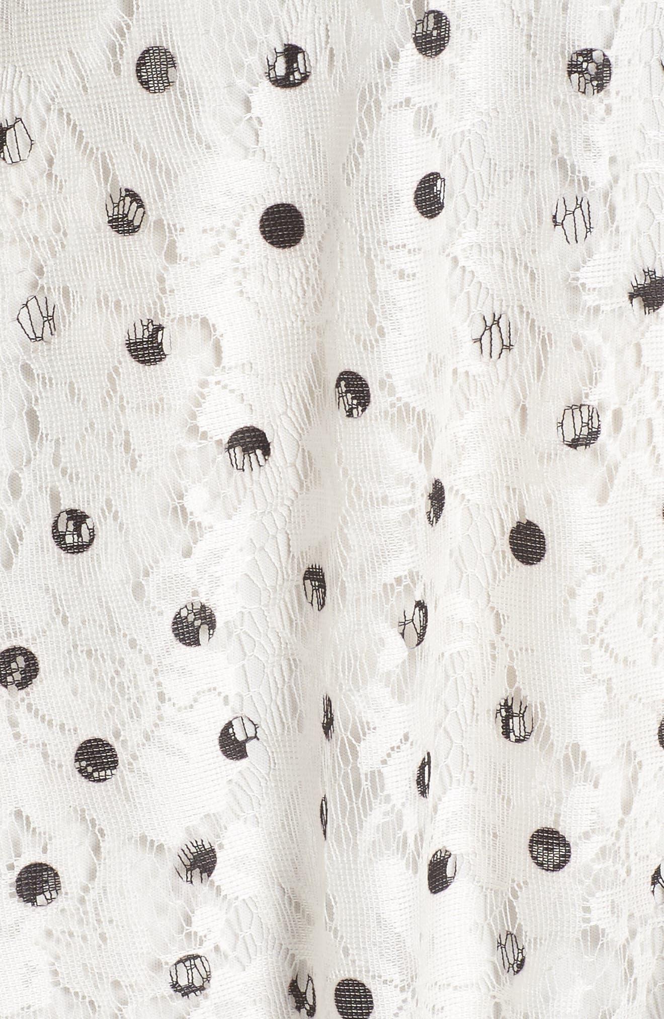 Polka Dot Lace Midi Dress,                             Alternate thumbnail 5, color,                             Ivory/ Black