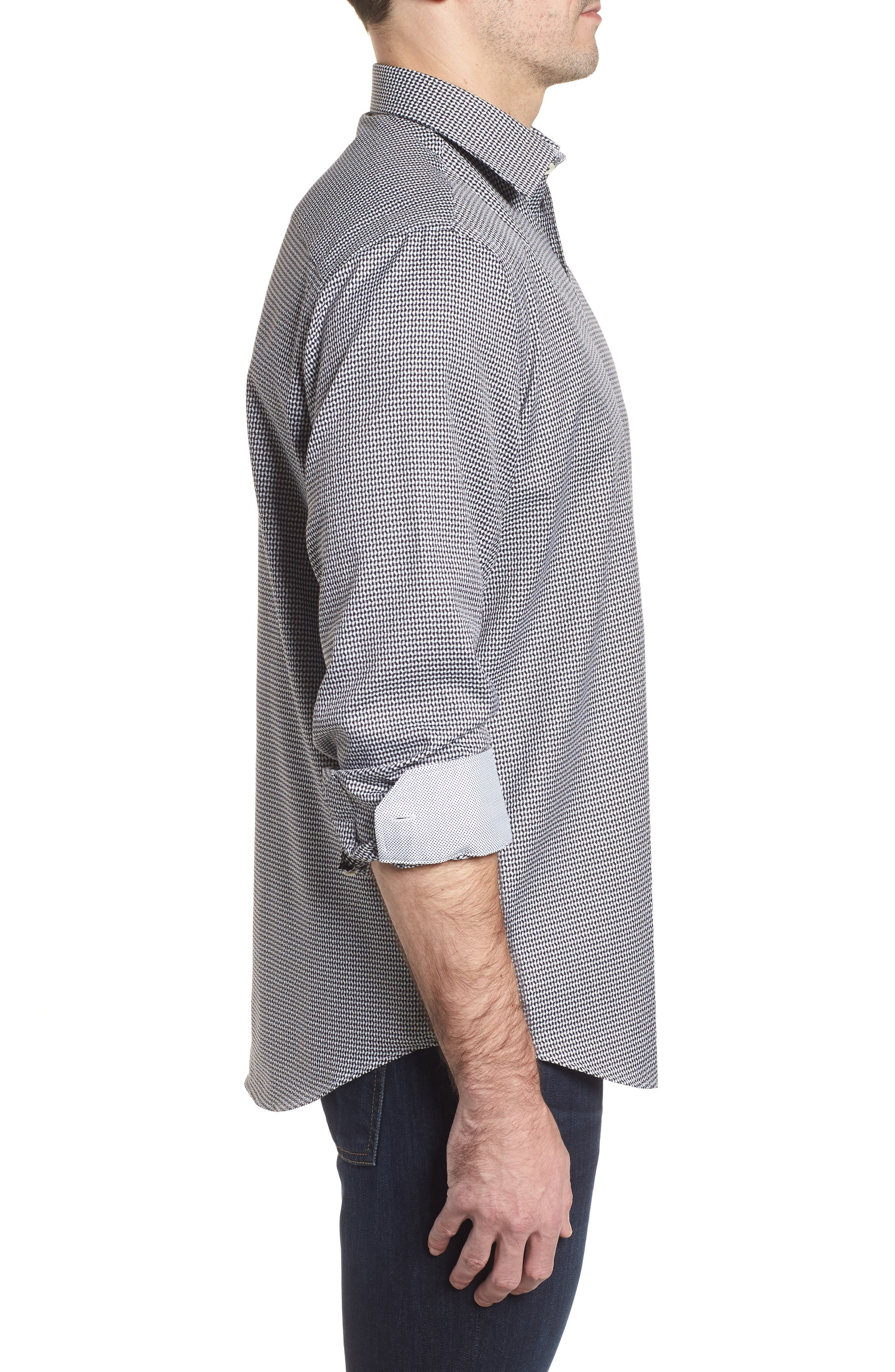 Classic Fit Lines of Distinction Print Sport Shirt,                             Alternate thumbnail 3, color,                             Black