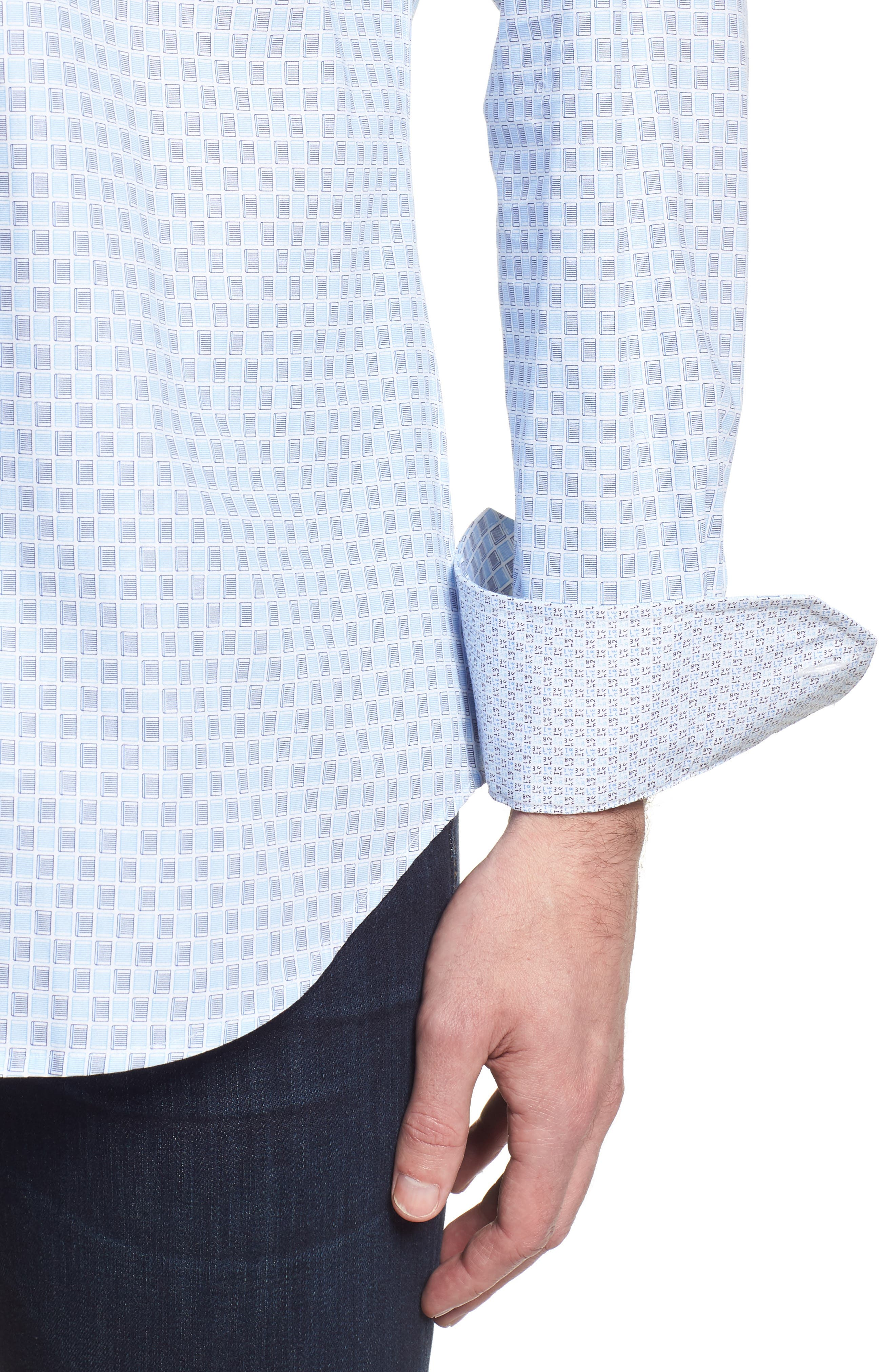 Shaped Fit Ice Cube Check Sport Shirt,                             Alternate thumbnail 4, color,                             Ice Blue