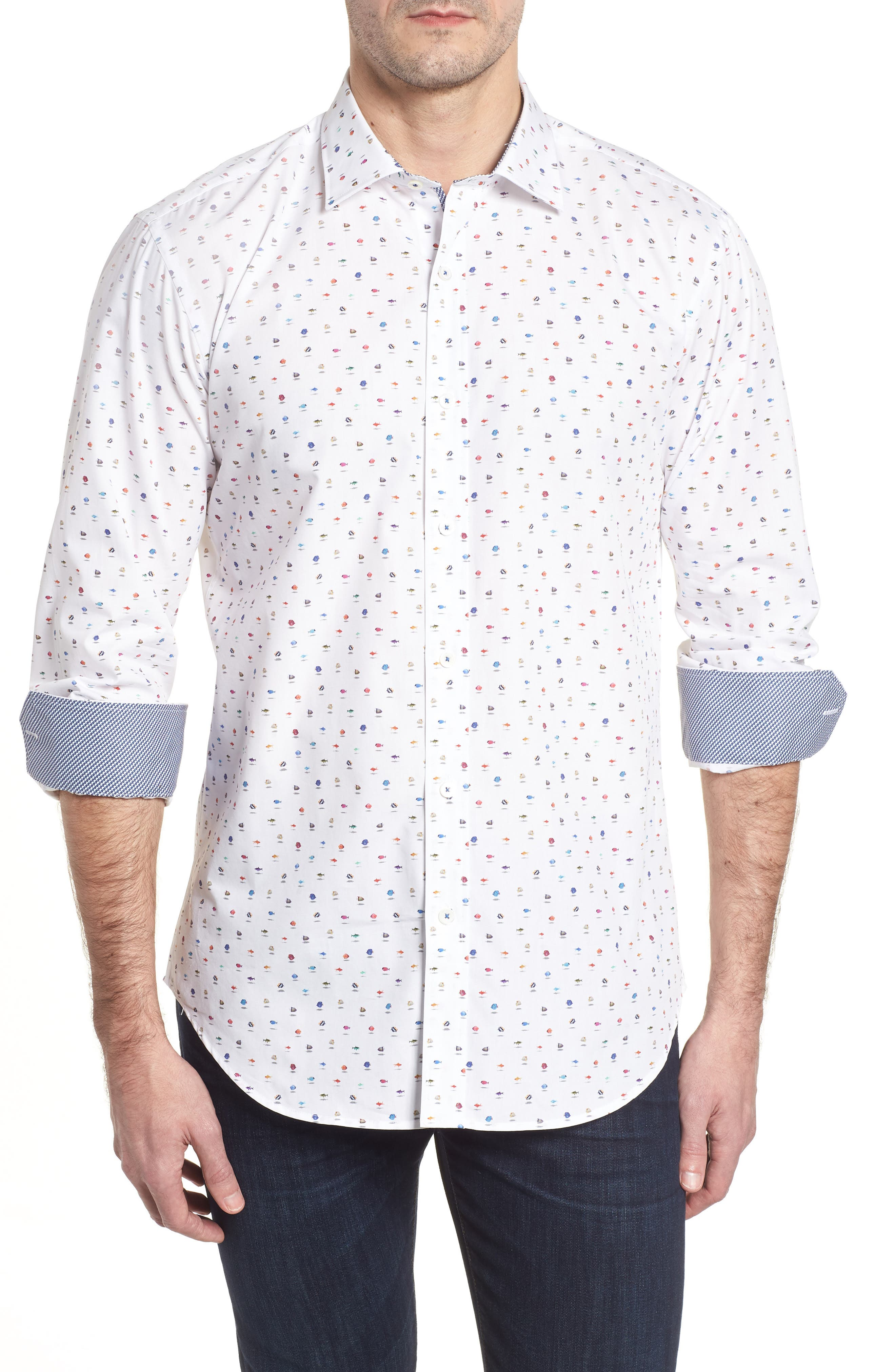 Shaped Fit Tropical Fish Sport Shirt,                         Main,                         color, Chalk