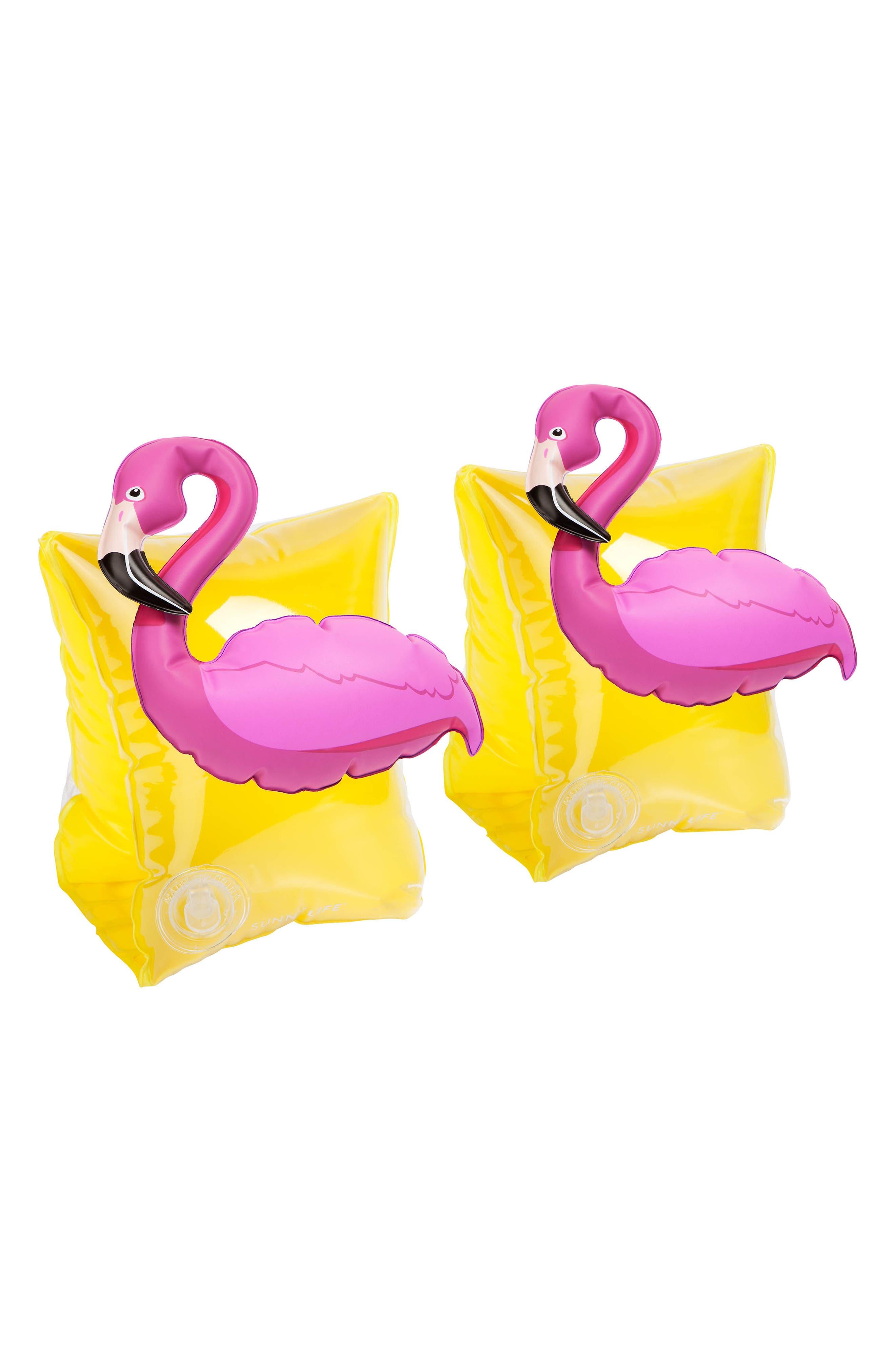 Set of 2 Flamingo Armband Floaties,                         Main,                         color, Yellow