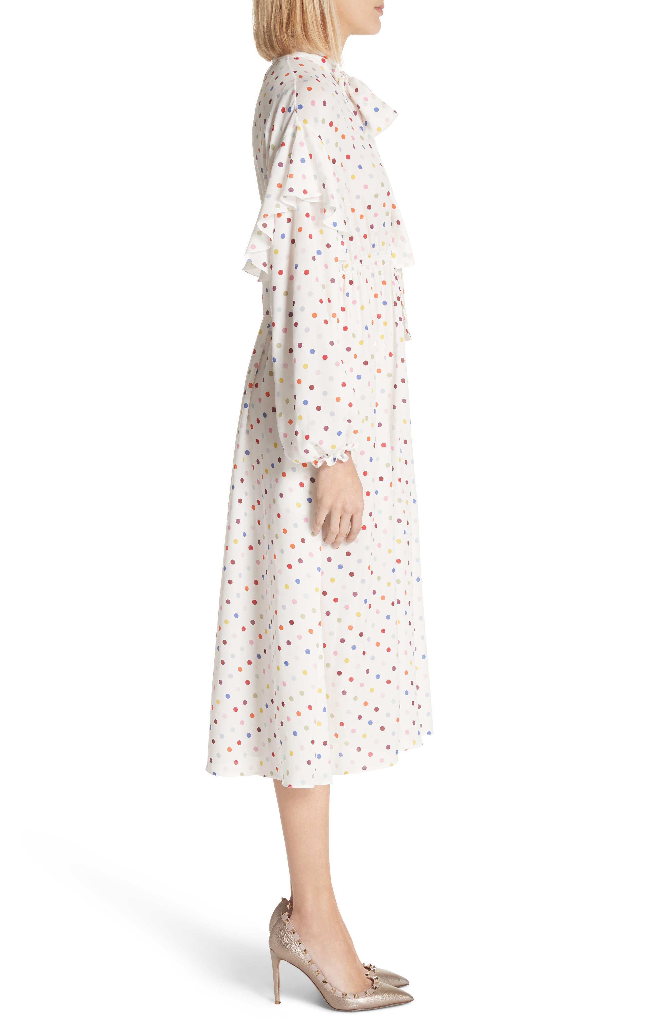 Polka Dot Silk Georgette Dress,                             Alternate thumbnail 3, color,                             Ivory