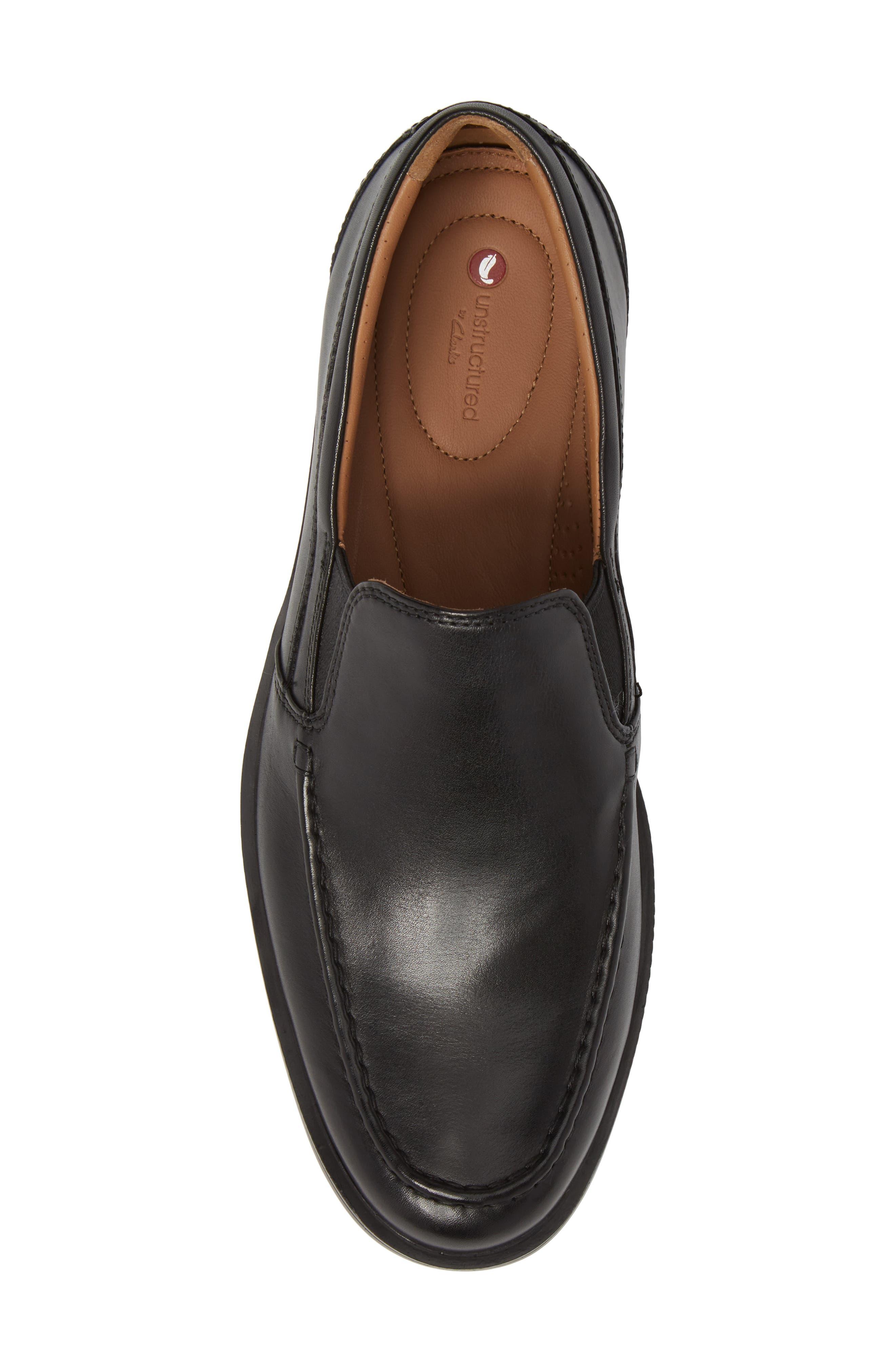 Unaldric Apron Toe Loafer,                             Alternate thumbnail 5, color,                             Black Leather