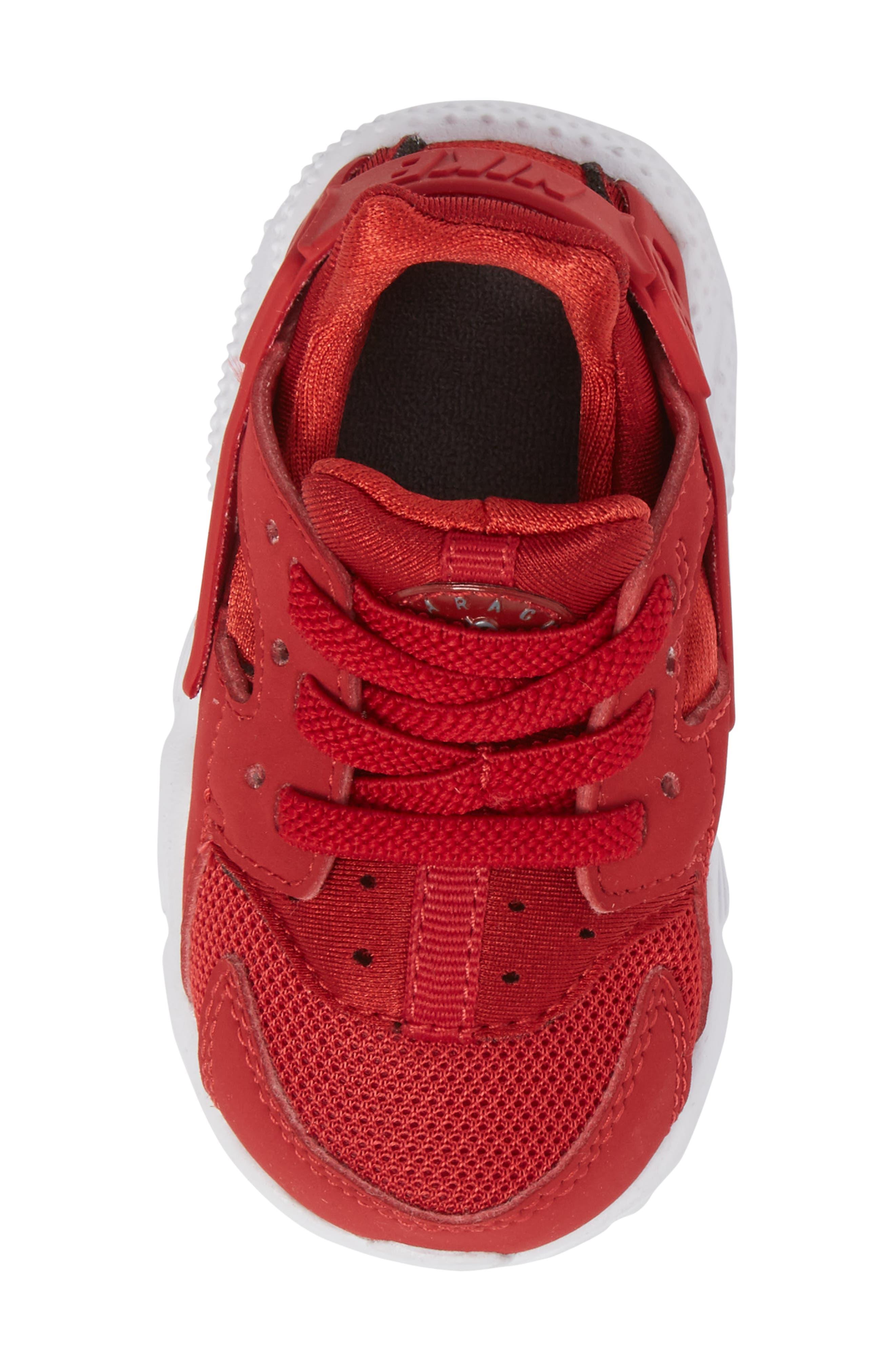 'Huarache Run' Sneaker,                             Alternate thumbnail 5, color,                             Gym Red/ Dark Grey/ White