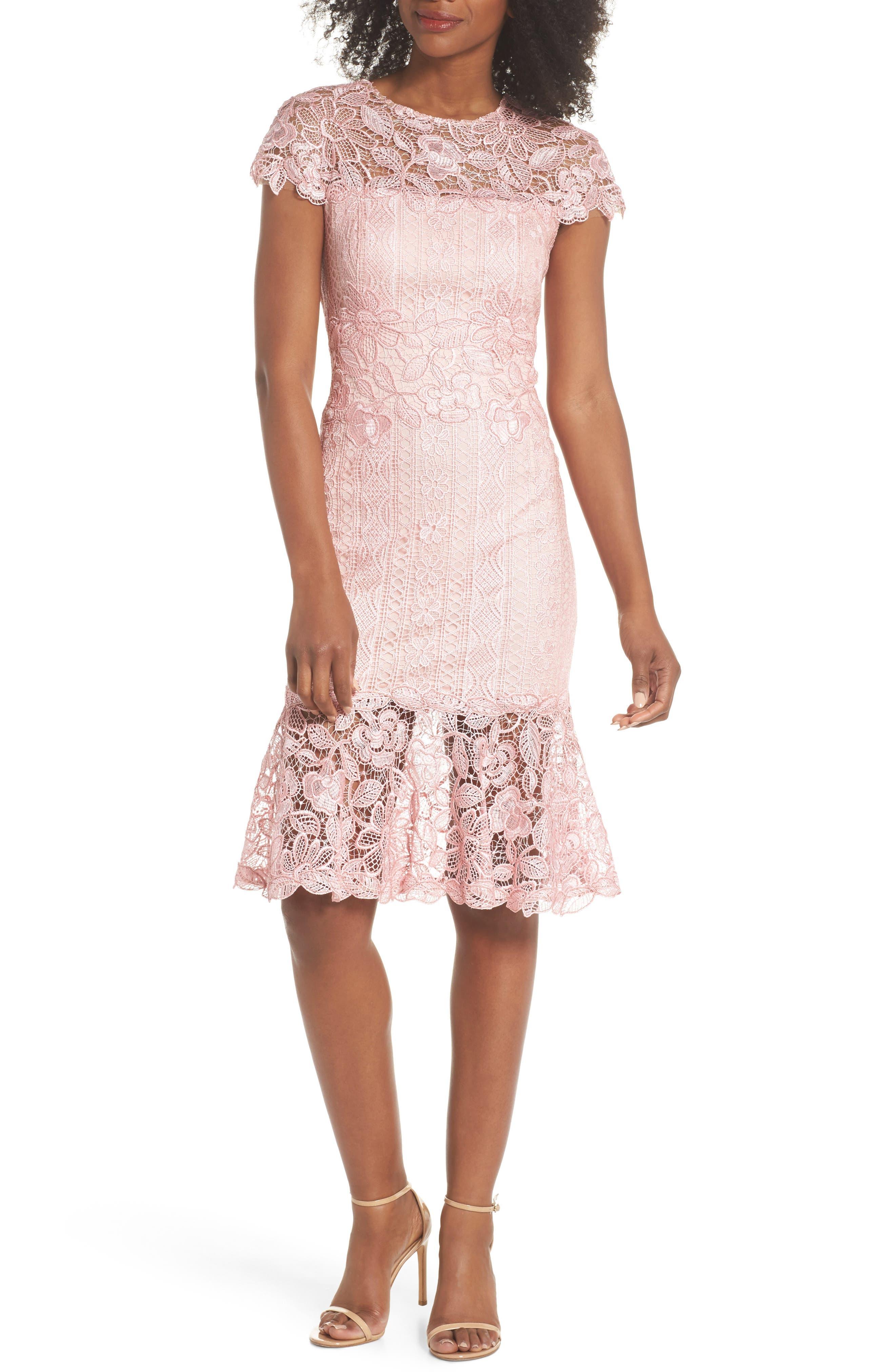 Alice Flounce Hem Lace Dress,                             Main thumbnail 1, color,                             Rose Quartz