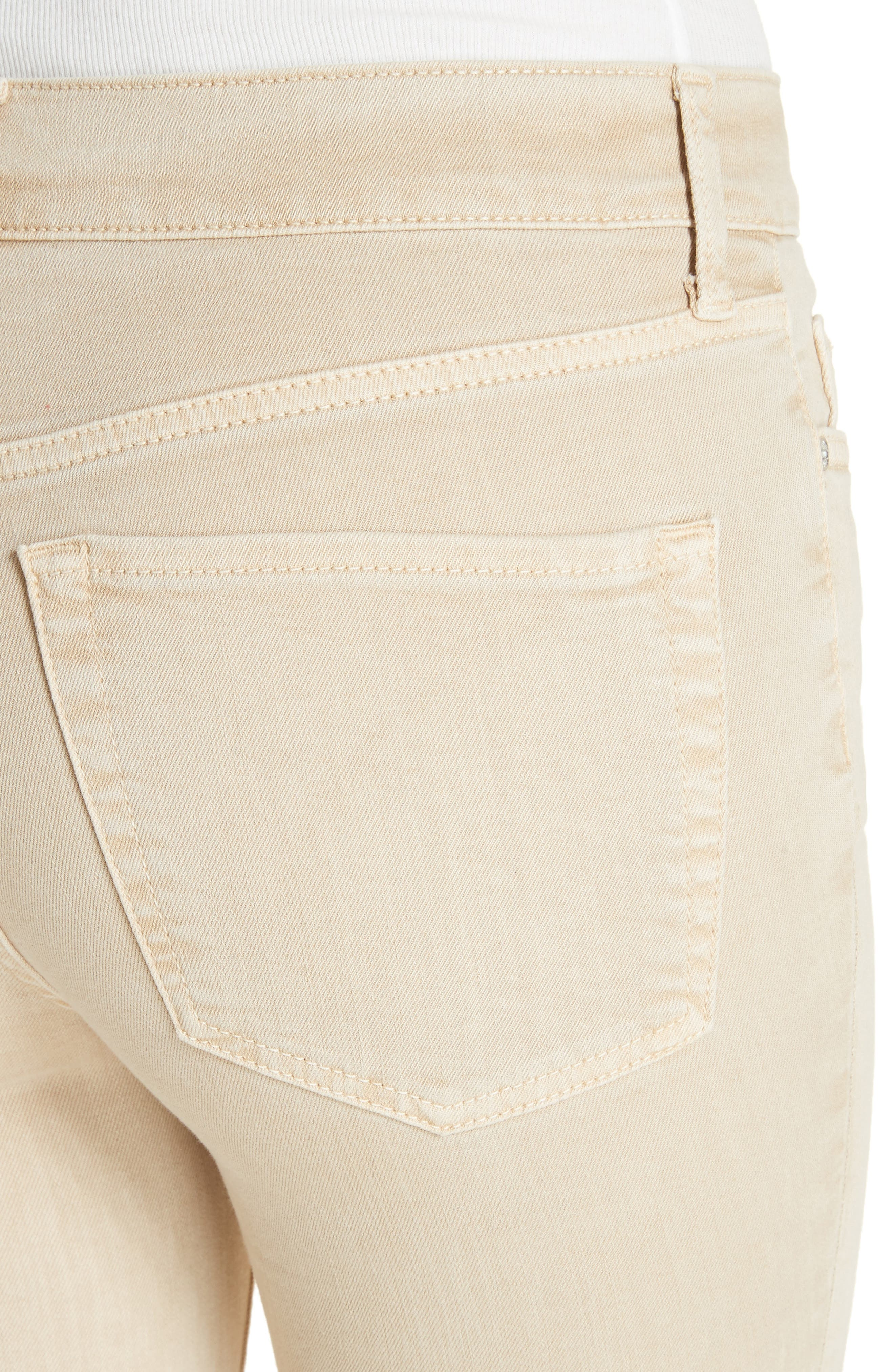 High Waist Busted Knee Skinny Jeans,                             Alternate thumbnail 4, color,                             Khaki