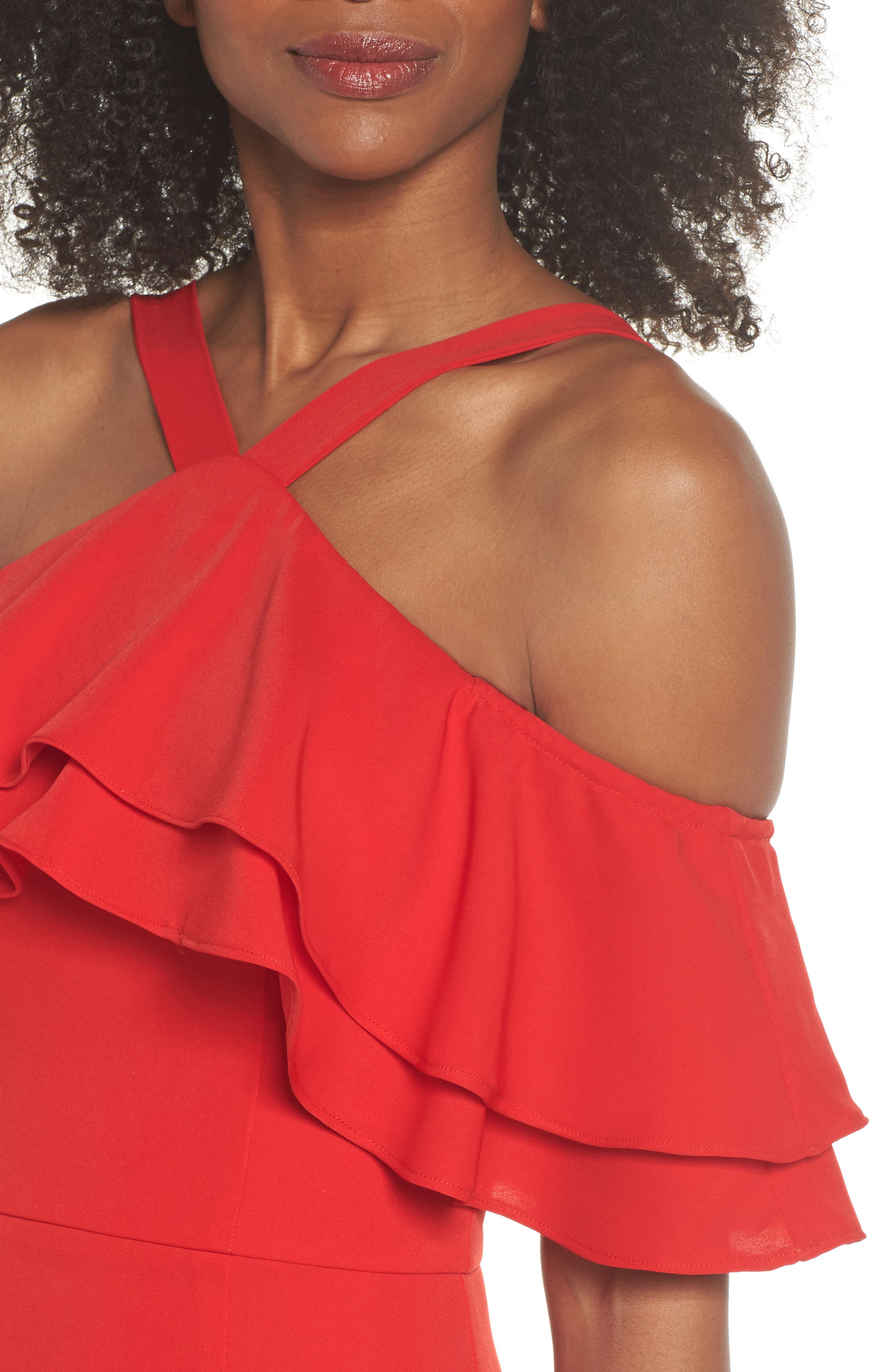 Dianne Ruffle Top Halter Gown,                             Alternate thumbnail 4, color,                             Red