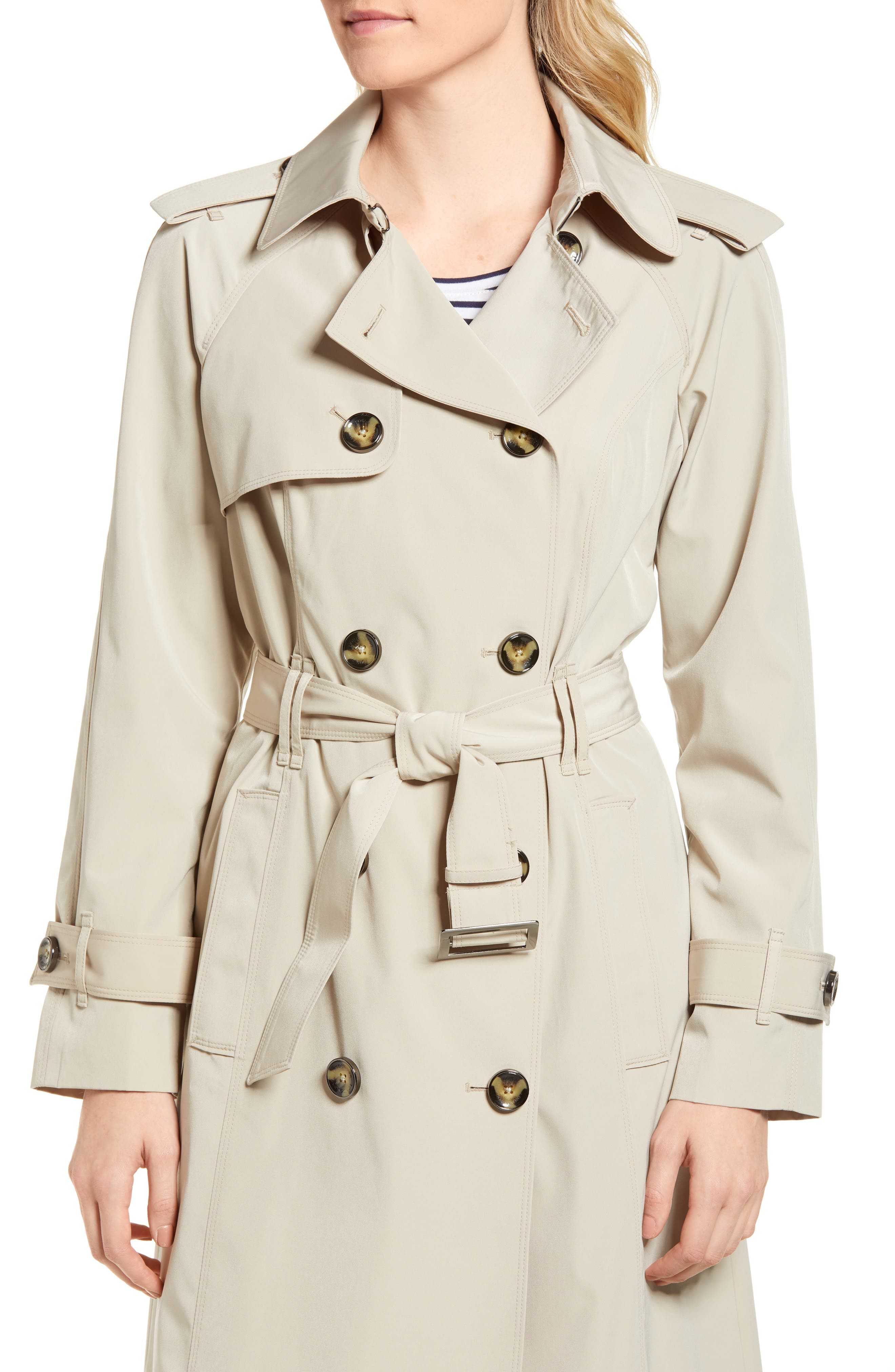 Long Double Breasted Trench Coat,                             Alternate thumbnail 4, color,                             Stone