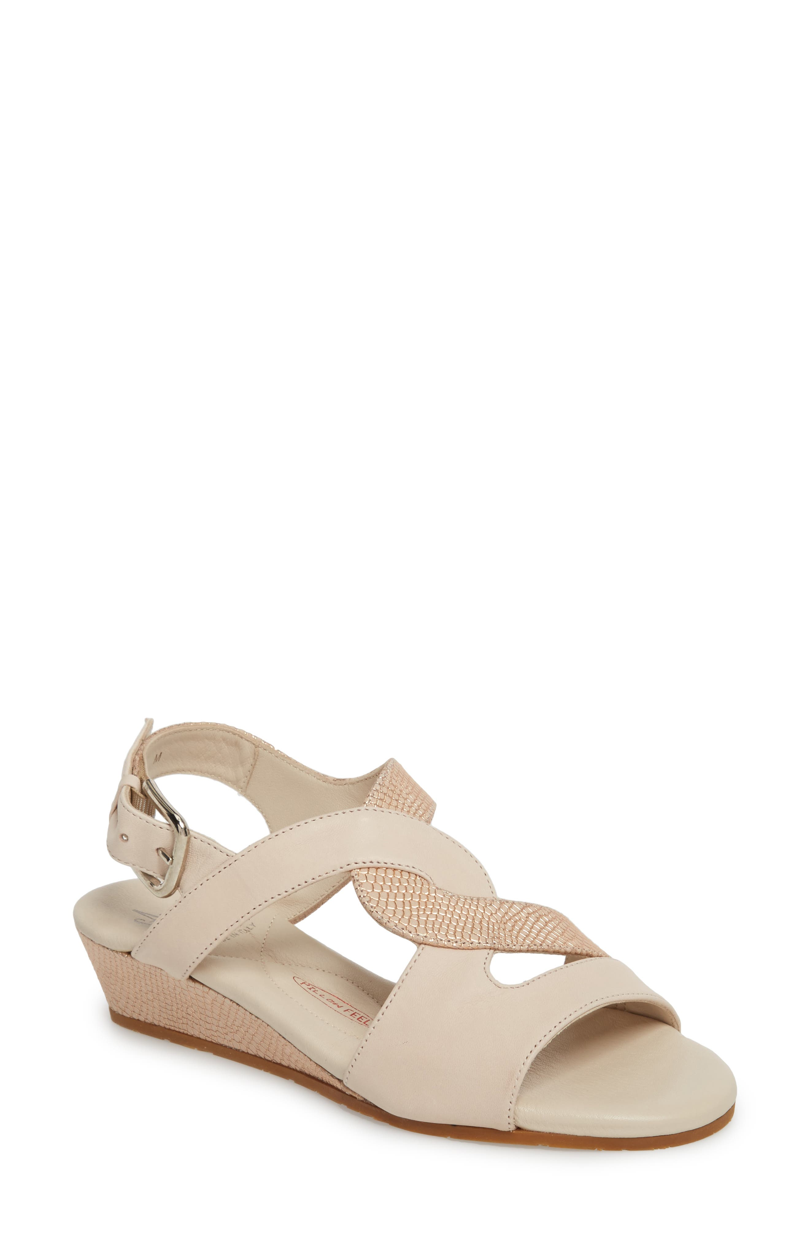 Morosa Wedge Sandal,                         Main,                         color, Beige Leather