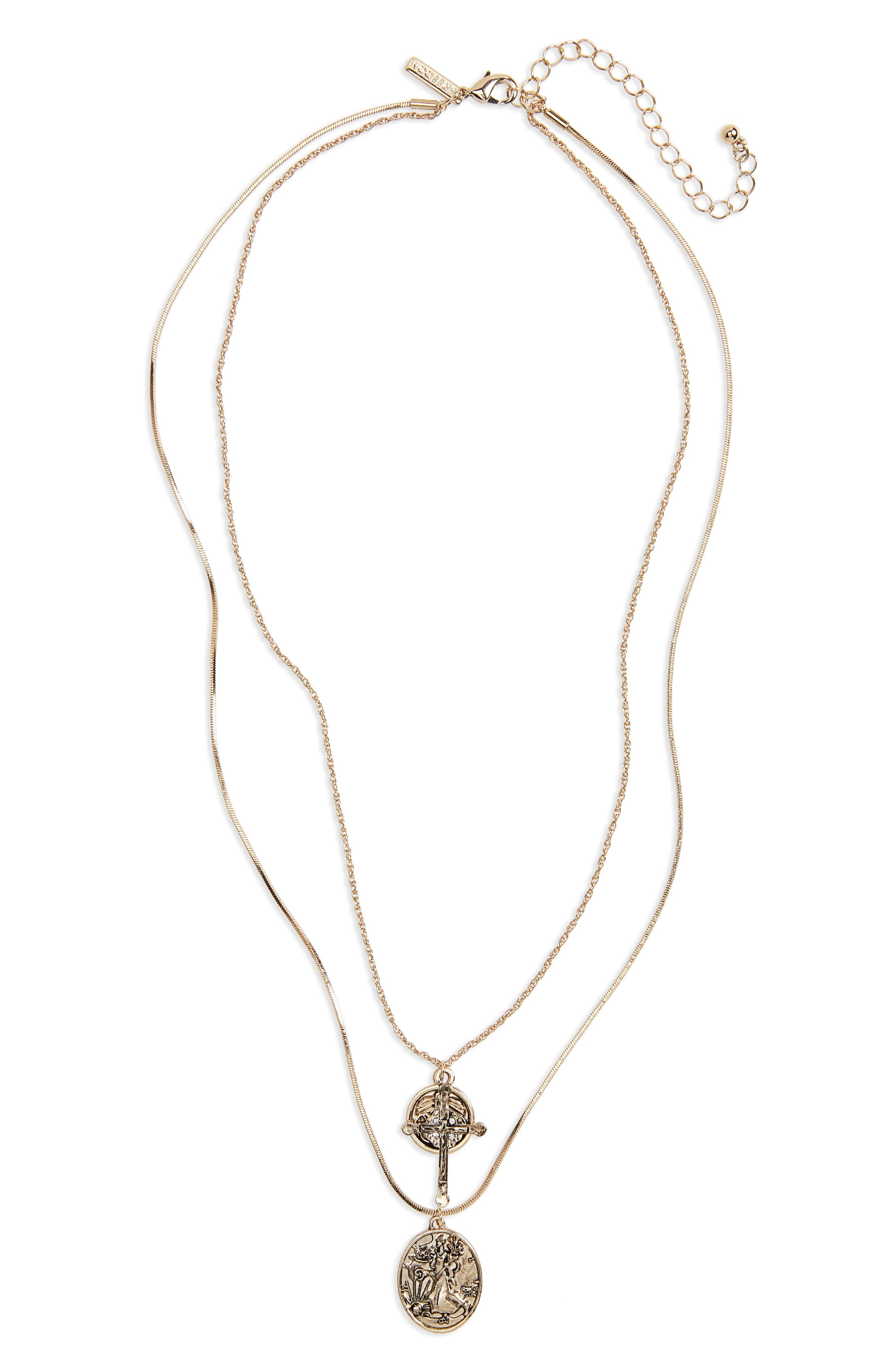 Coin Cross Layer Necklace,                         Main,                         color, Gold