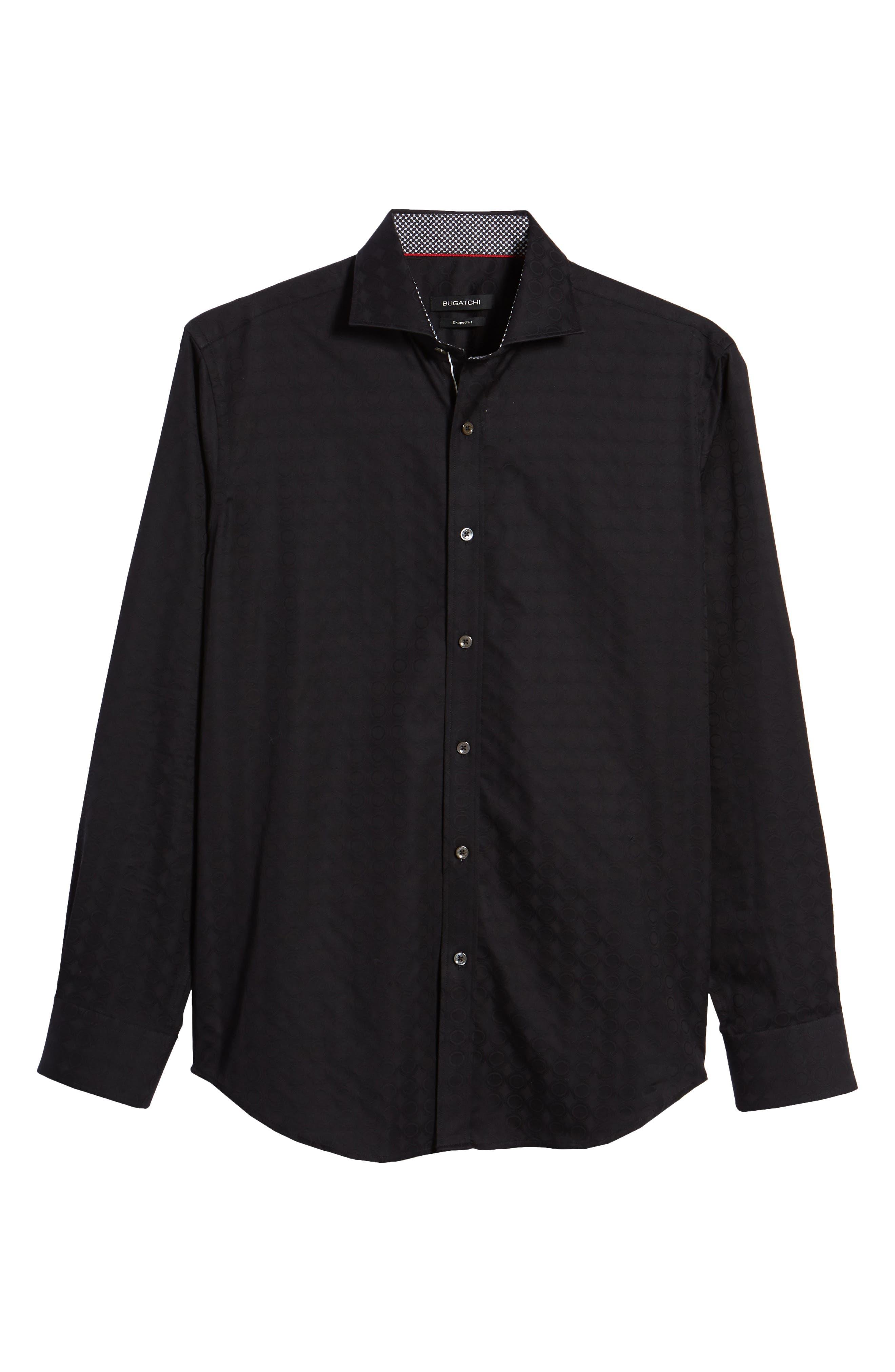 Shaped Fit Circle Print Sport Shirt,                             Alternate thumbnail 6, color,                             Black