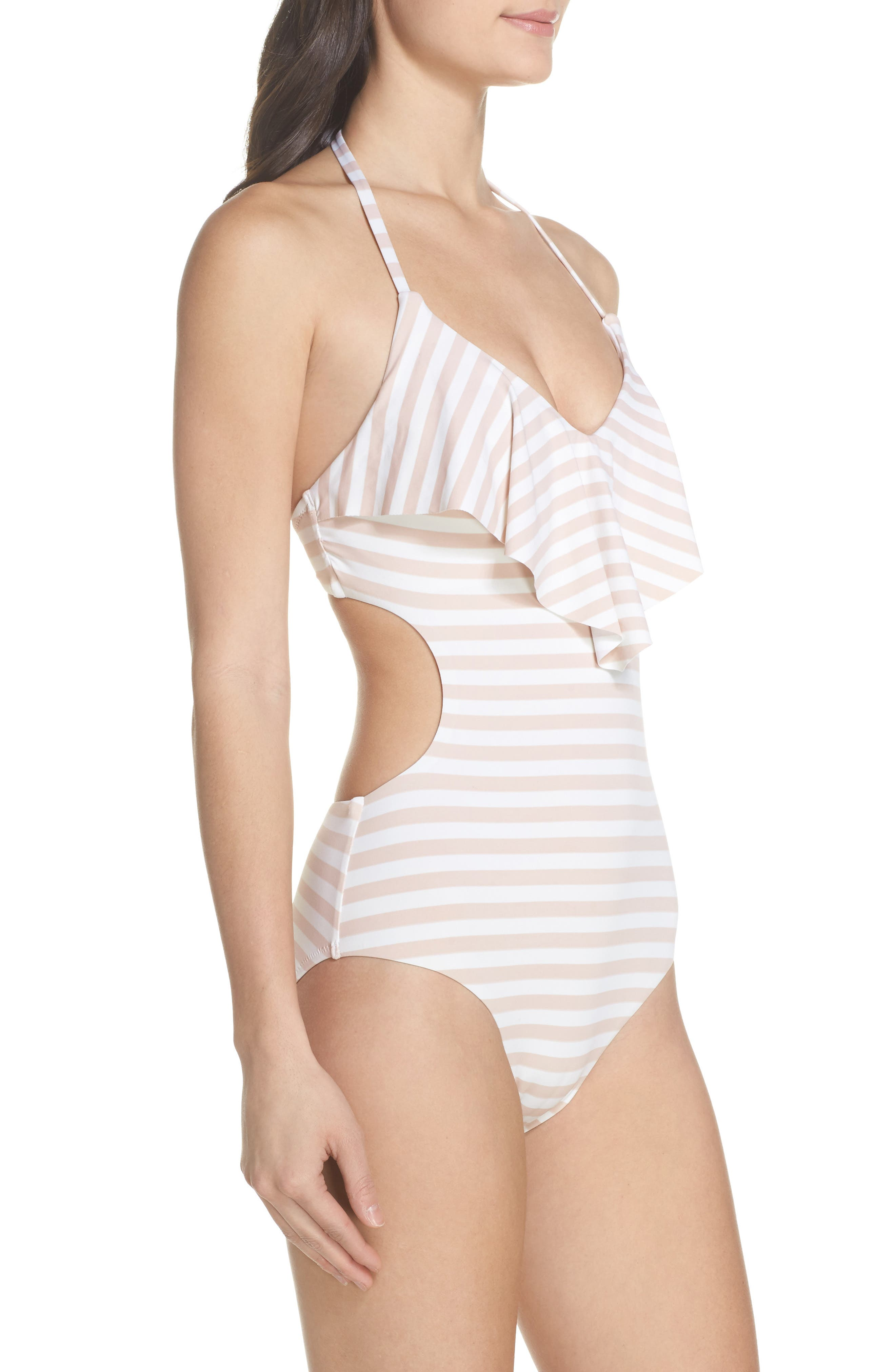 Ruffle One-Piece Swimsuit,                             Alternate thumbnail 3, color,                             Pink Dust Stripe