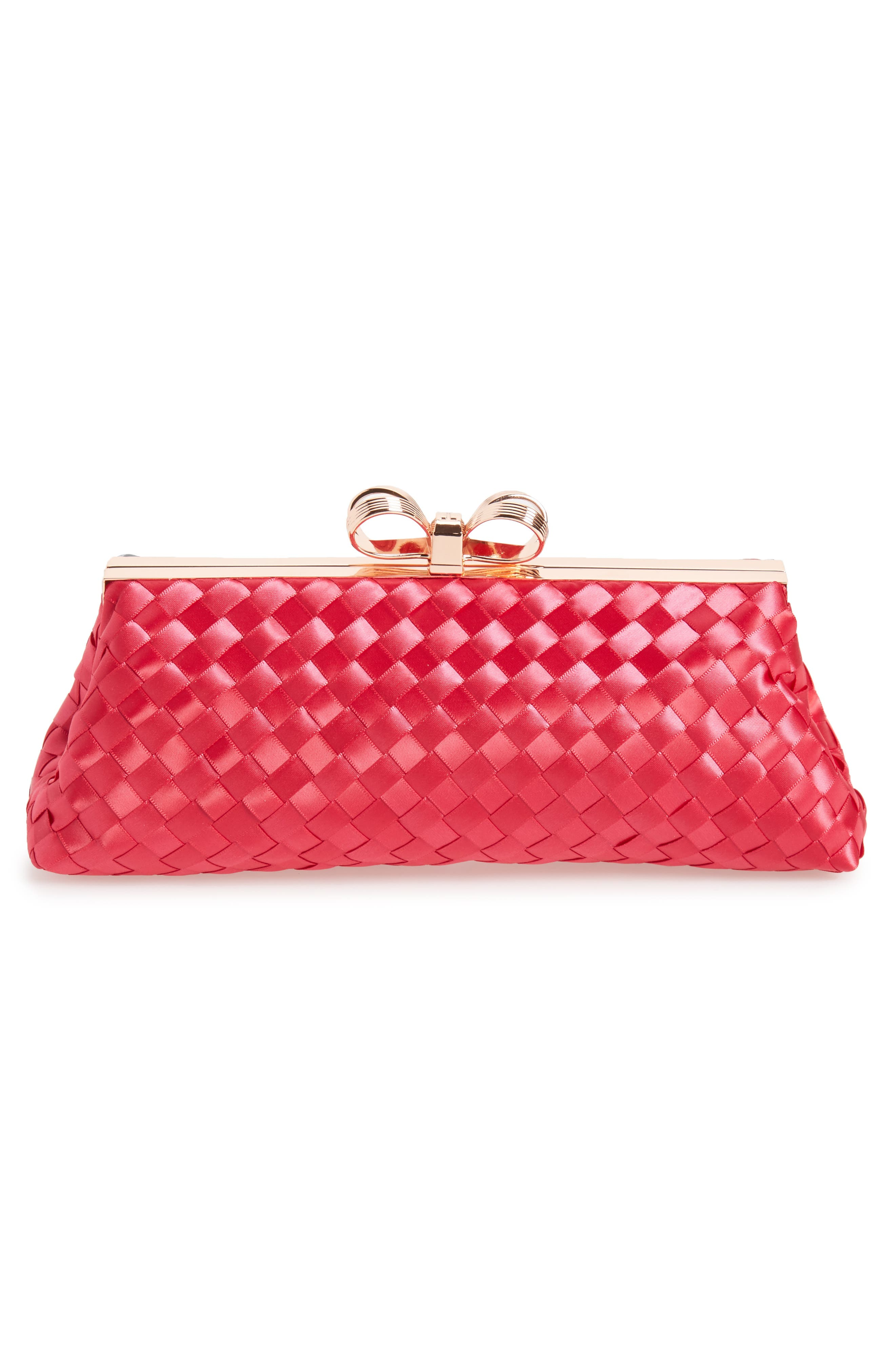 Alaina Woven Frame Clutch,                             Alternate thumbnail 4, color,                             Deep Pink