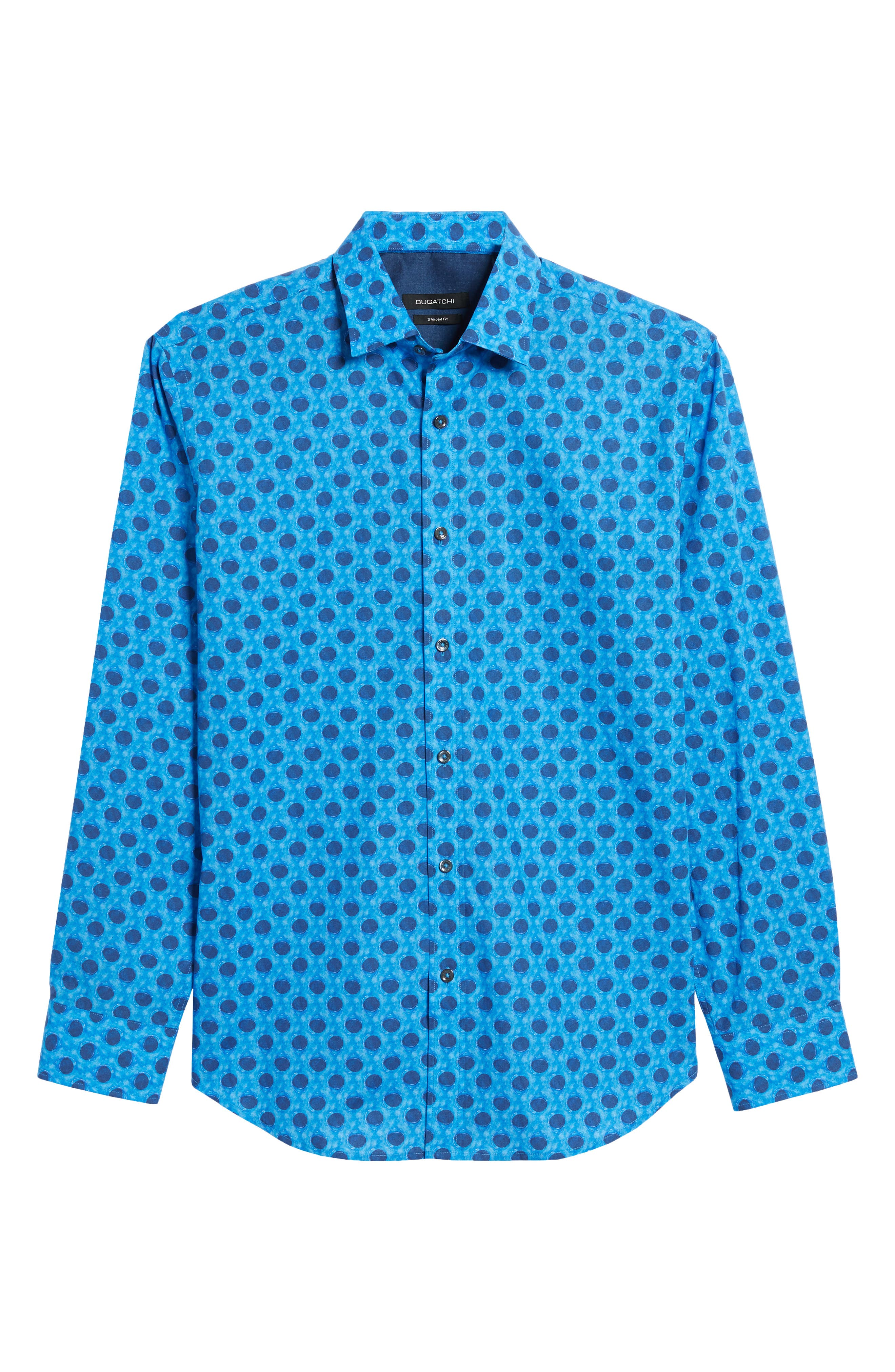 Shaped Fit Waning Moon Print Sport Shirt,                             Alternate thumbnail 6, color,                             Cobalt