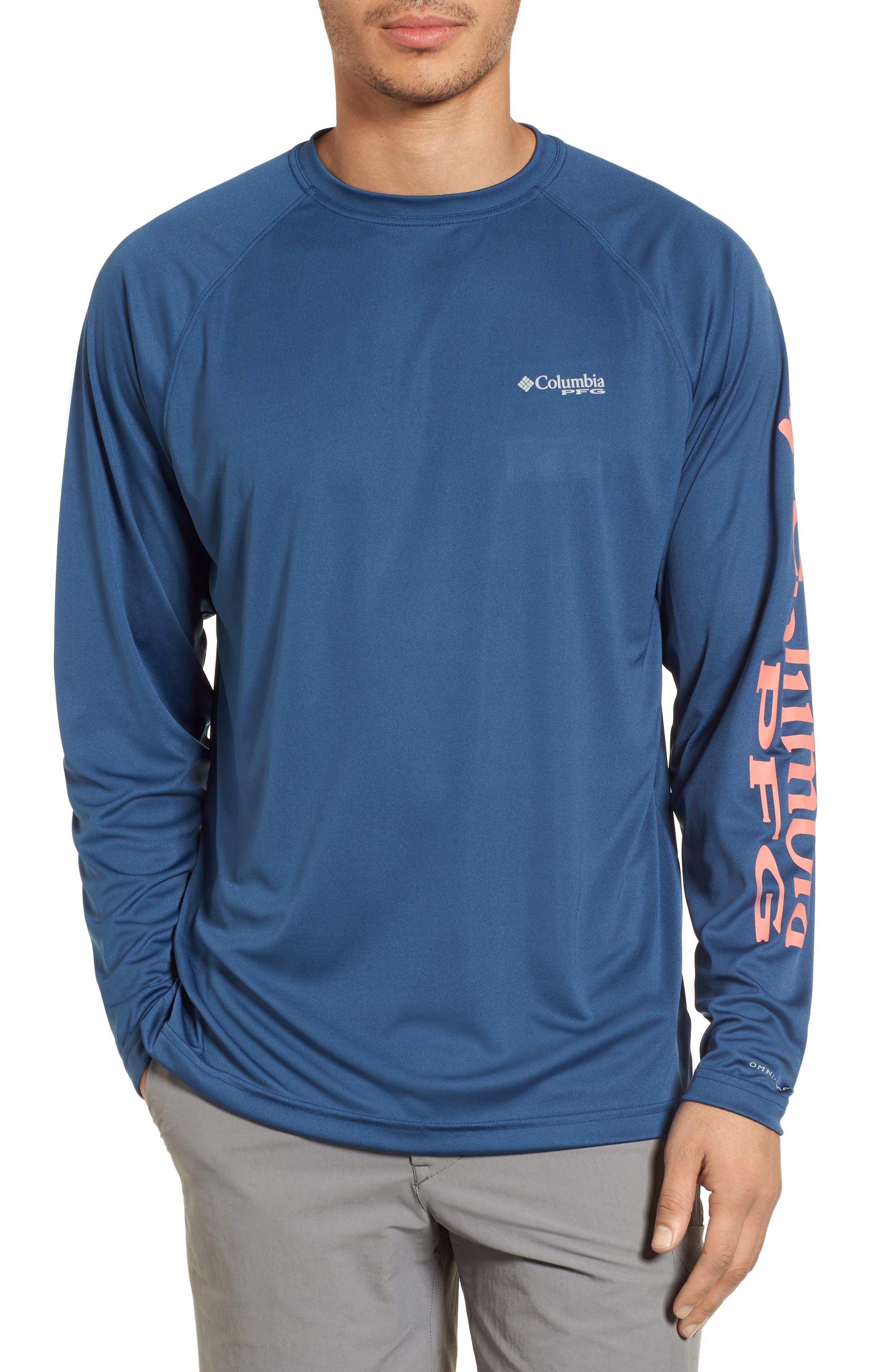 PFG Terminal Tackle Performance T-Shirt,                         Main,                         color, Night Tide Salmon Logo