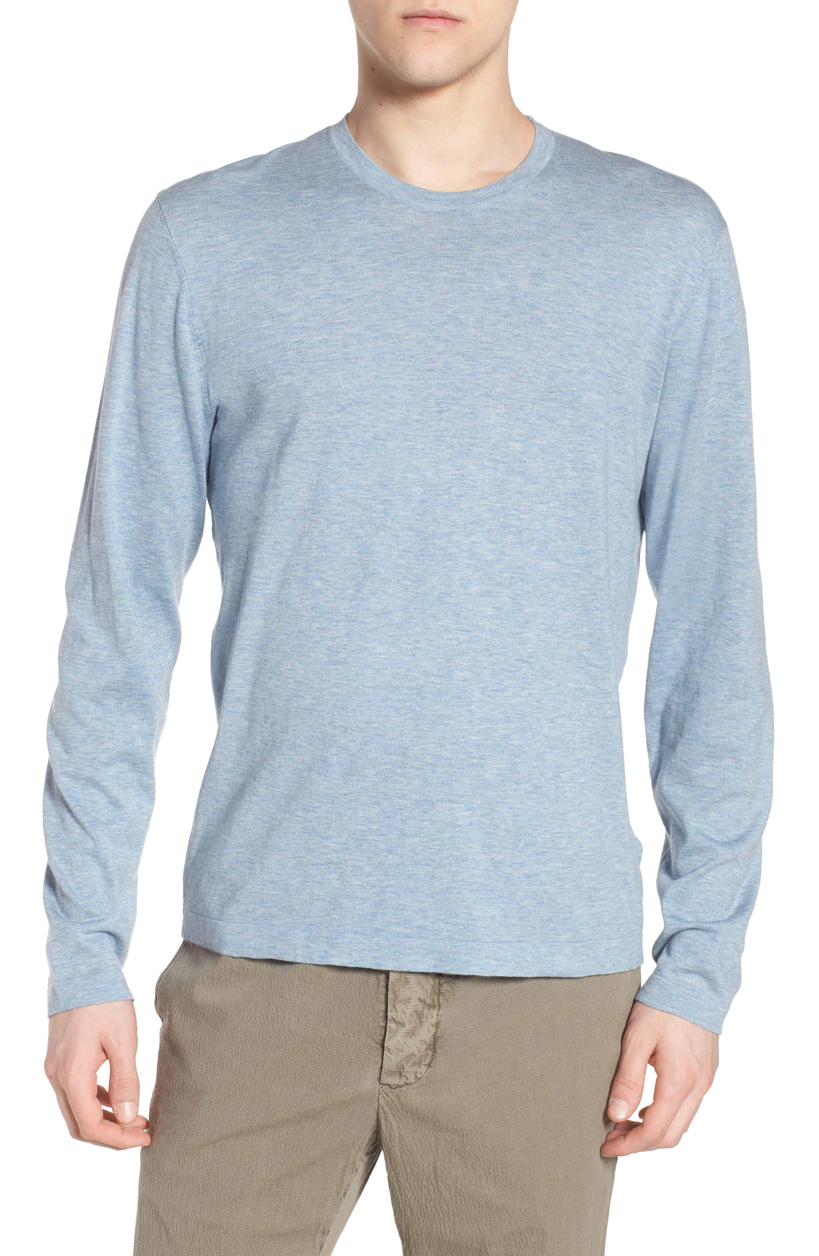 Fine Gauge Crewneck Sweater,                             Main thumbnail 1, color,                             Heather Sky Blue