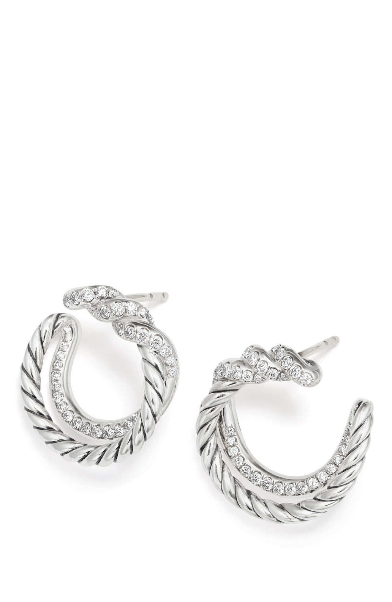 Continuance Hoop Earrings with Diamonds,                             Alternate thumbnail 2, color,                             Silver/ Diamond