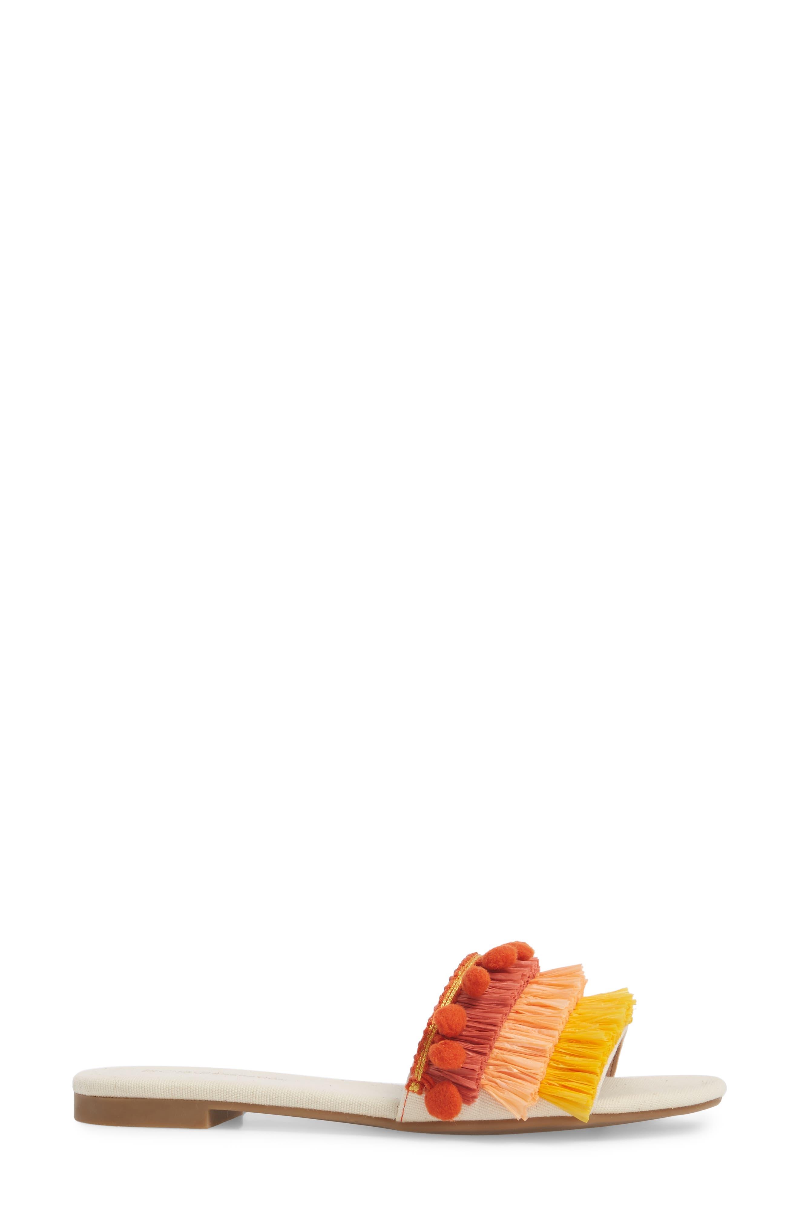 Genna Raffia Tier Slide Sandal,                             Alternate thumbnail 3, color,                             Marigold/ Rust