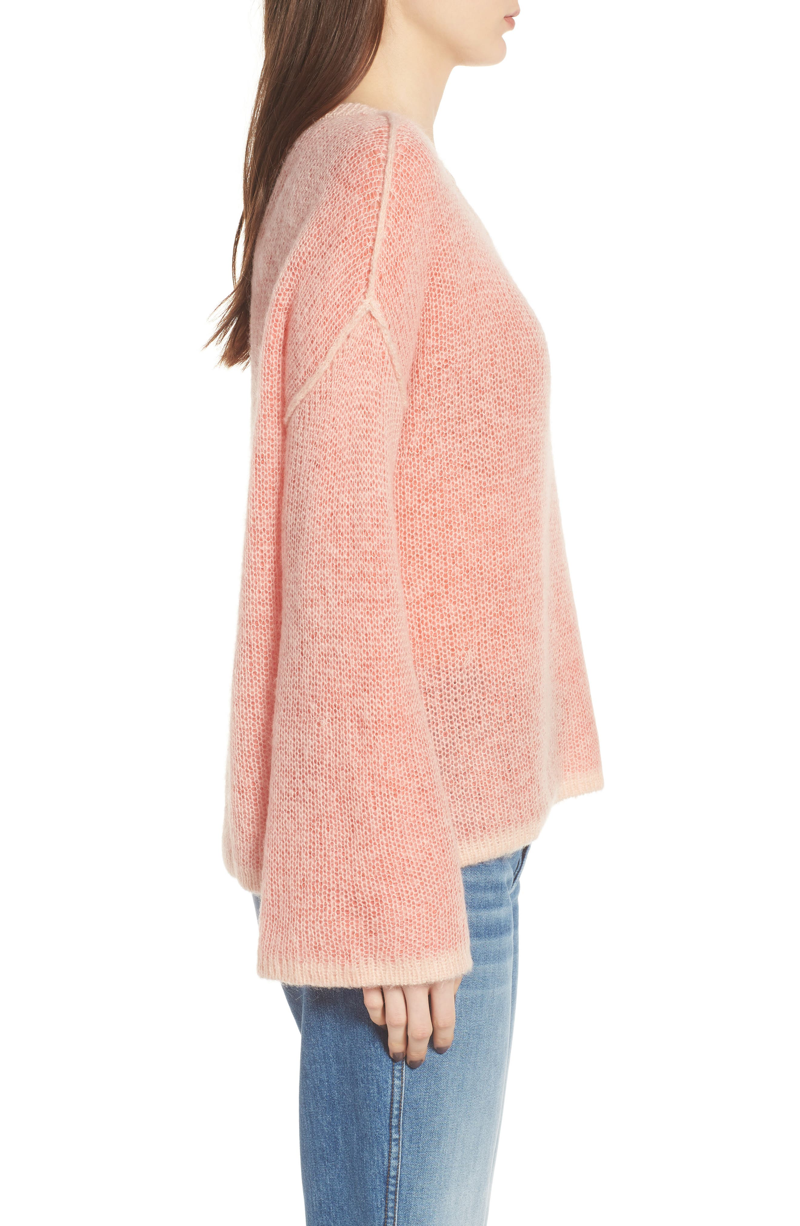 Bell Sleeve Sweater,                             Alternate thumbnail 3, color,                             Pink