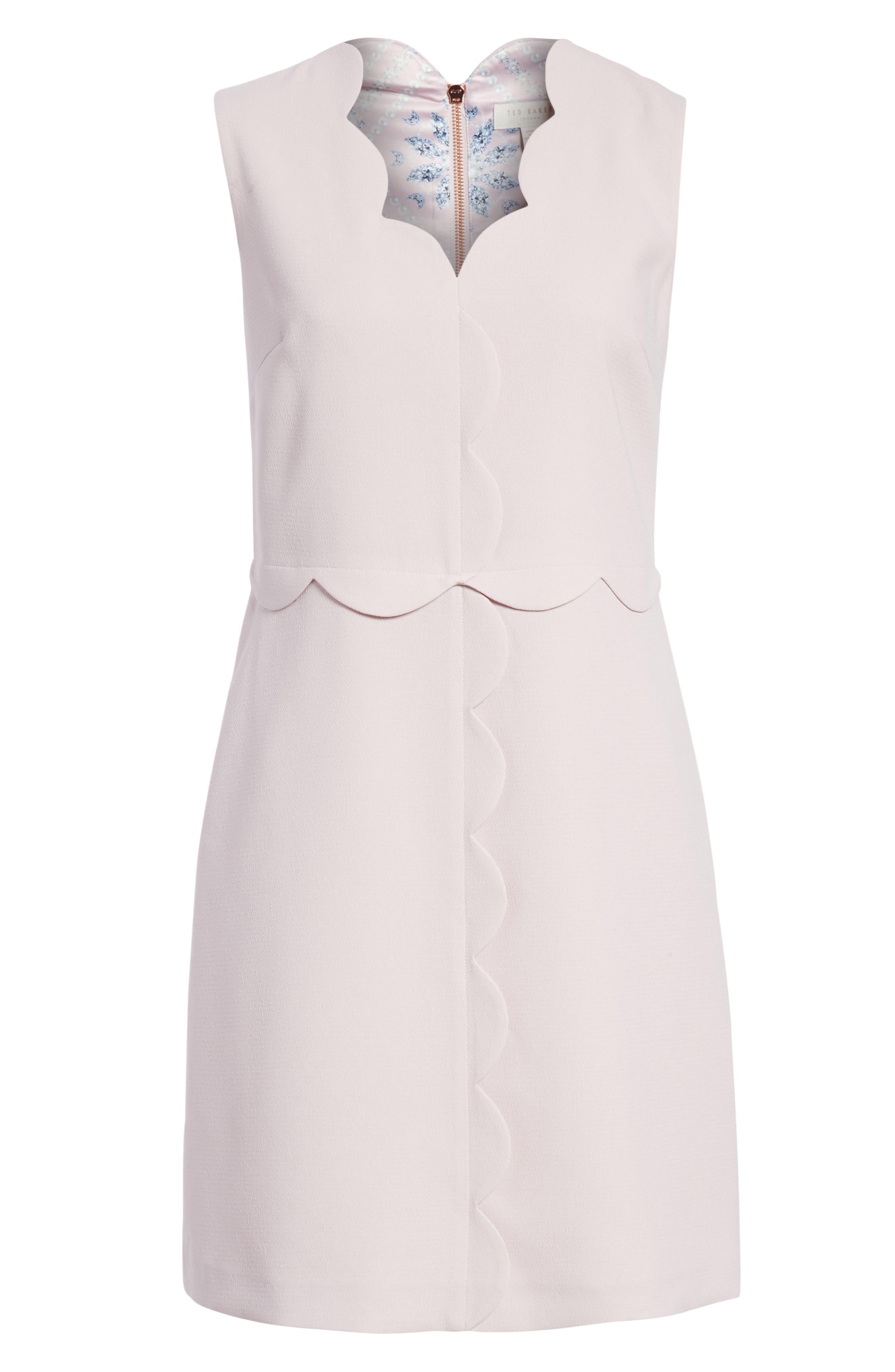Scallop Edge Shift Dress,                             Alternate thumbnail 6, color,                             Dusky Pink