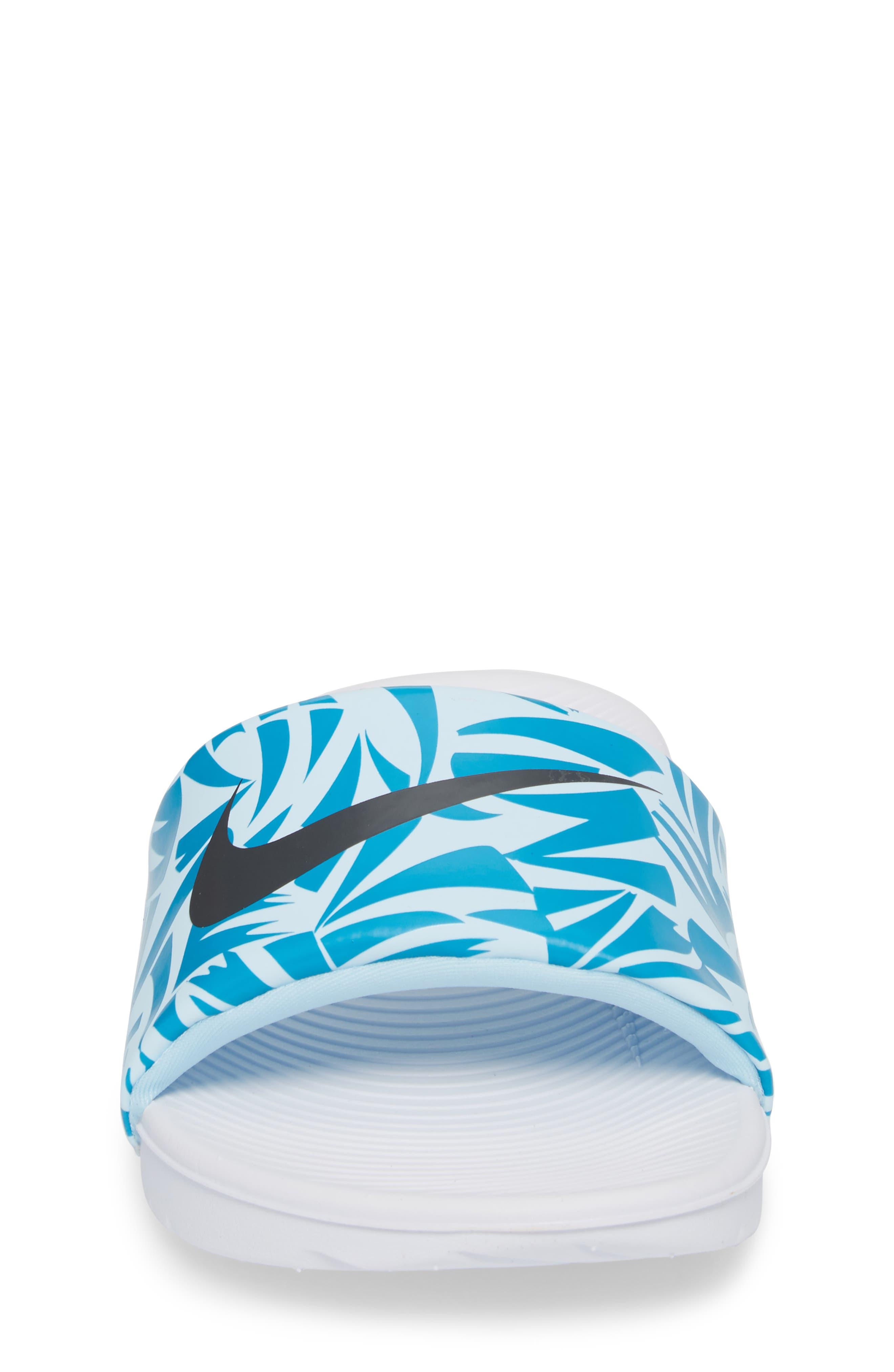 'Kawa' Print Slide Sandal,                             Alternate thumbnail 4, color,                             White/ Anthracite/ Turquoise