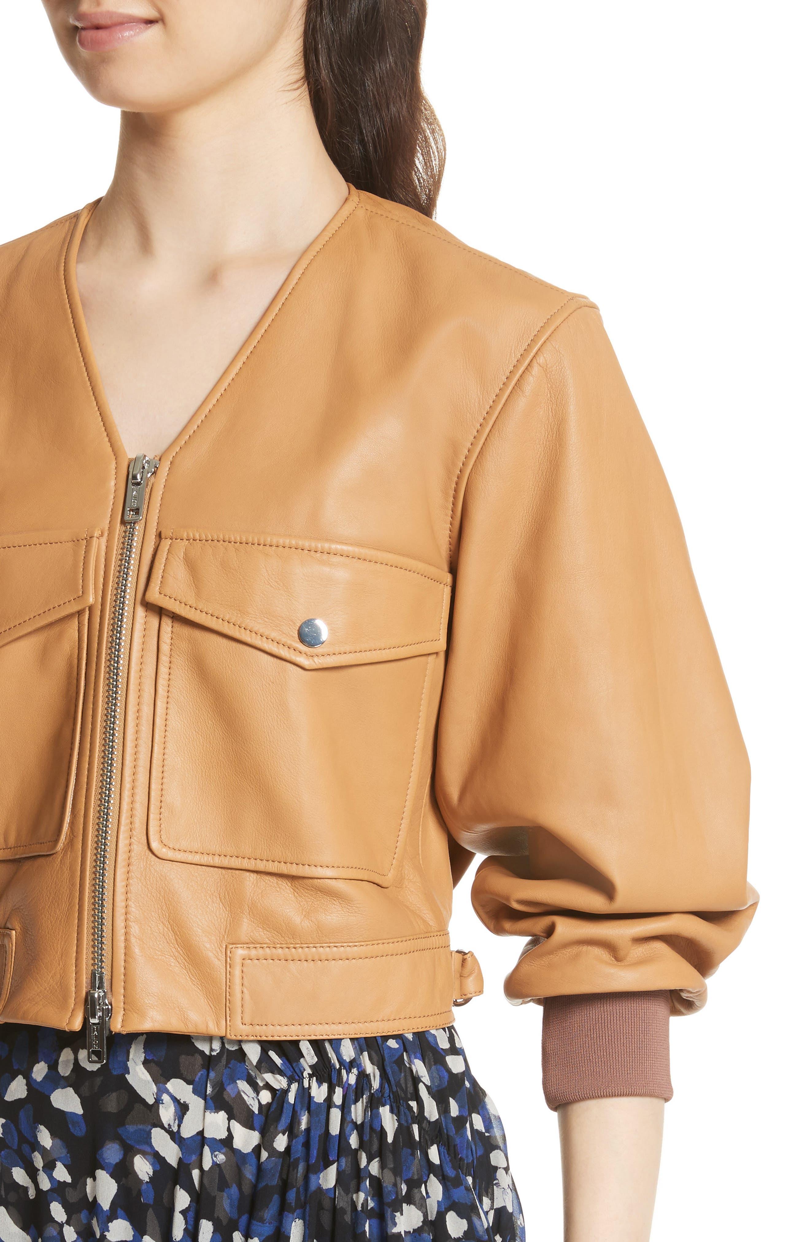 Cargo Pocket Leather Bomber Jacket,                             Alternate thumbnail 4, color,                             Sand
