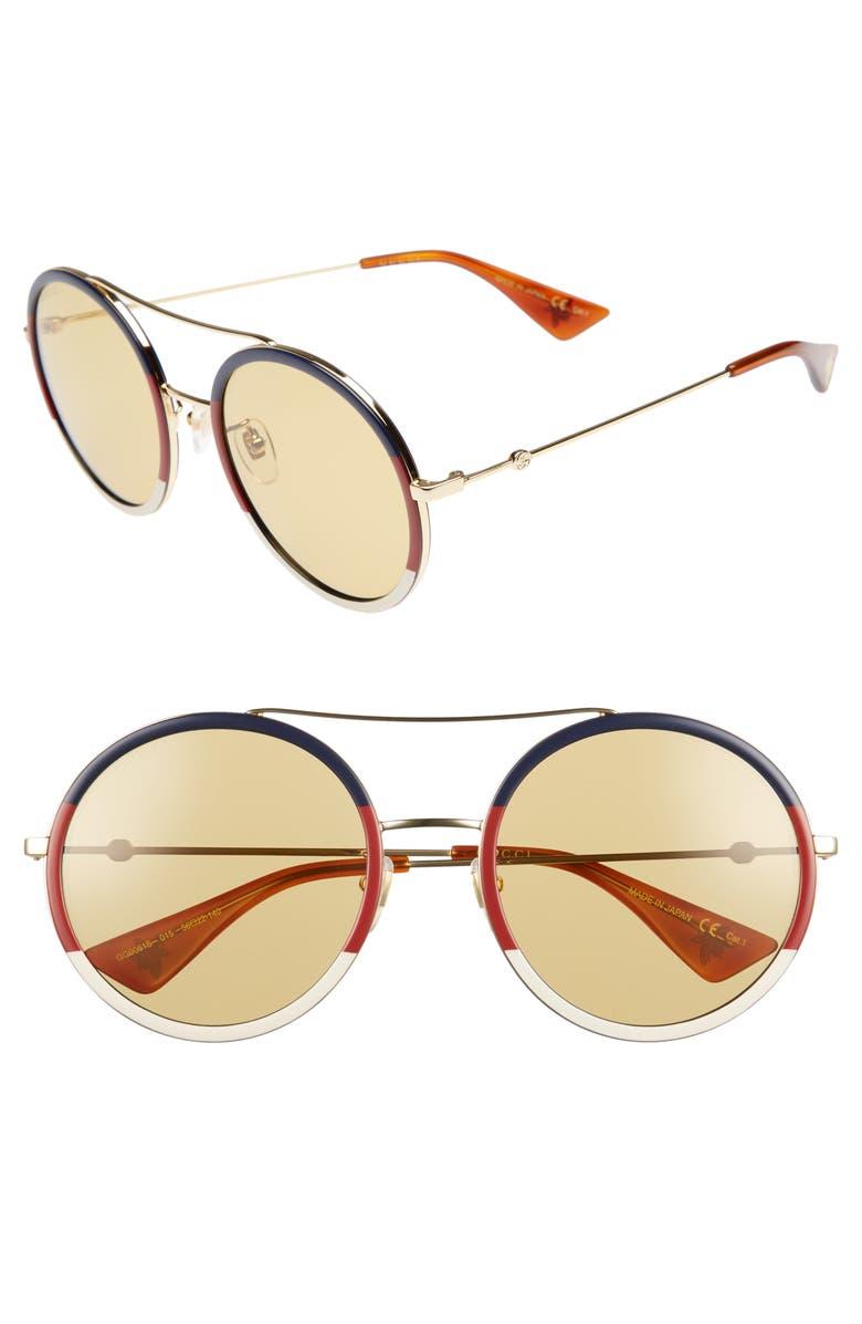113488f9ee Gucci Web Block 56Mm Round Sunglasses - Gold  Blonde Havana In Gold Blue Red