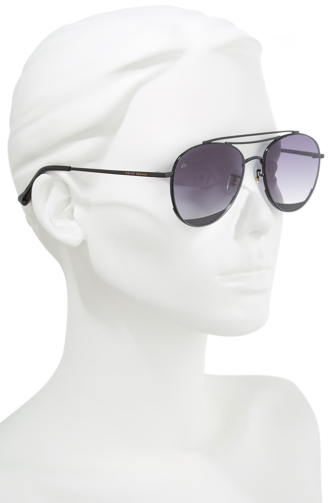 Privé Revaux The Dave O 57mm Aviator Sunglasses,                             Alternate thumbnail 3, color,                             Black/ Purple