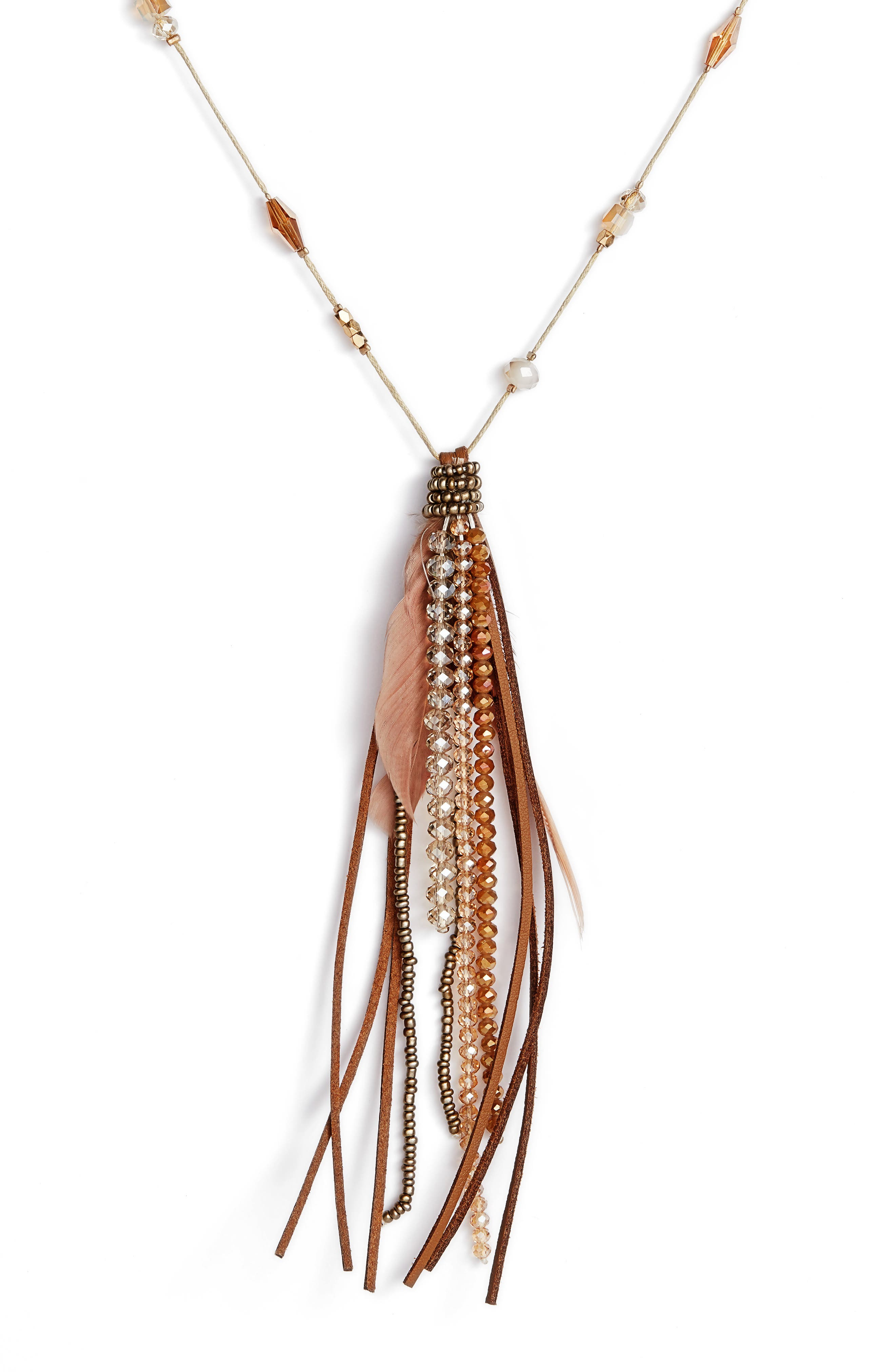 Beaded Feather Necklace,                             Alternate thumbnail 2, color,                             Brown