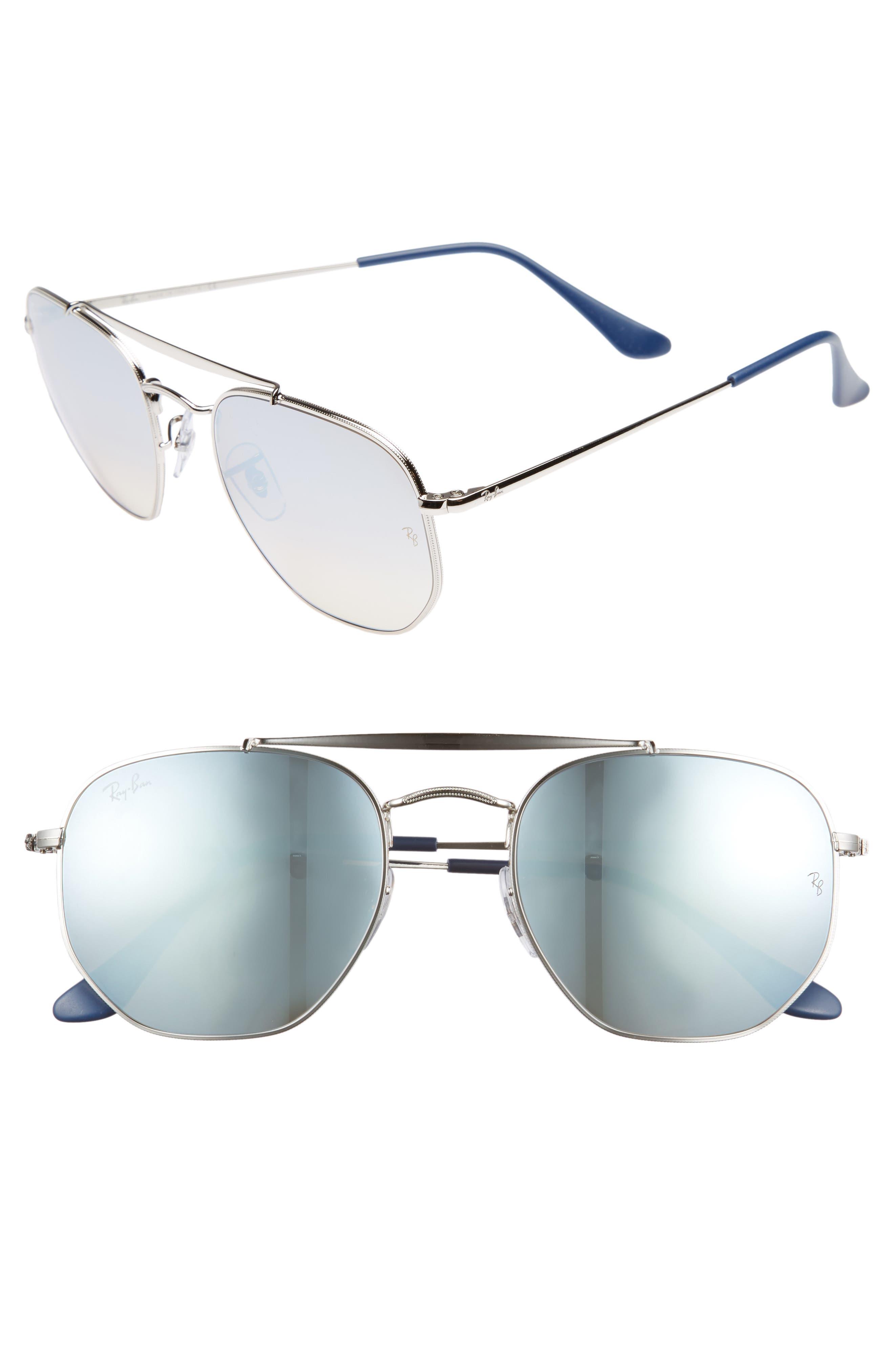 Marshal 54mm Aviator Sunglasses,                             Main thumbnail 1, color,                             Silver/ Mirror