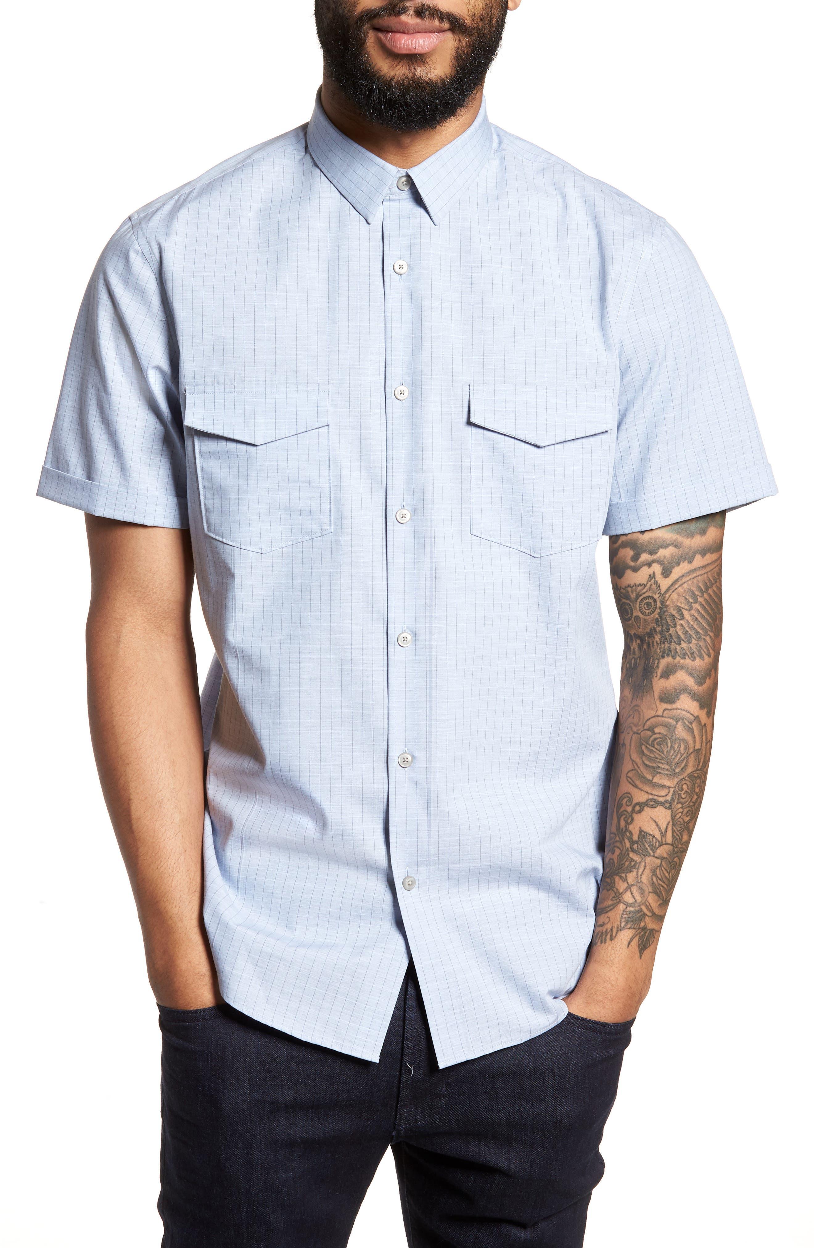 Grid Pocket Sport Shirt,                         Main,                         color, Blue Brunnera Heather Grid