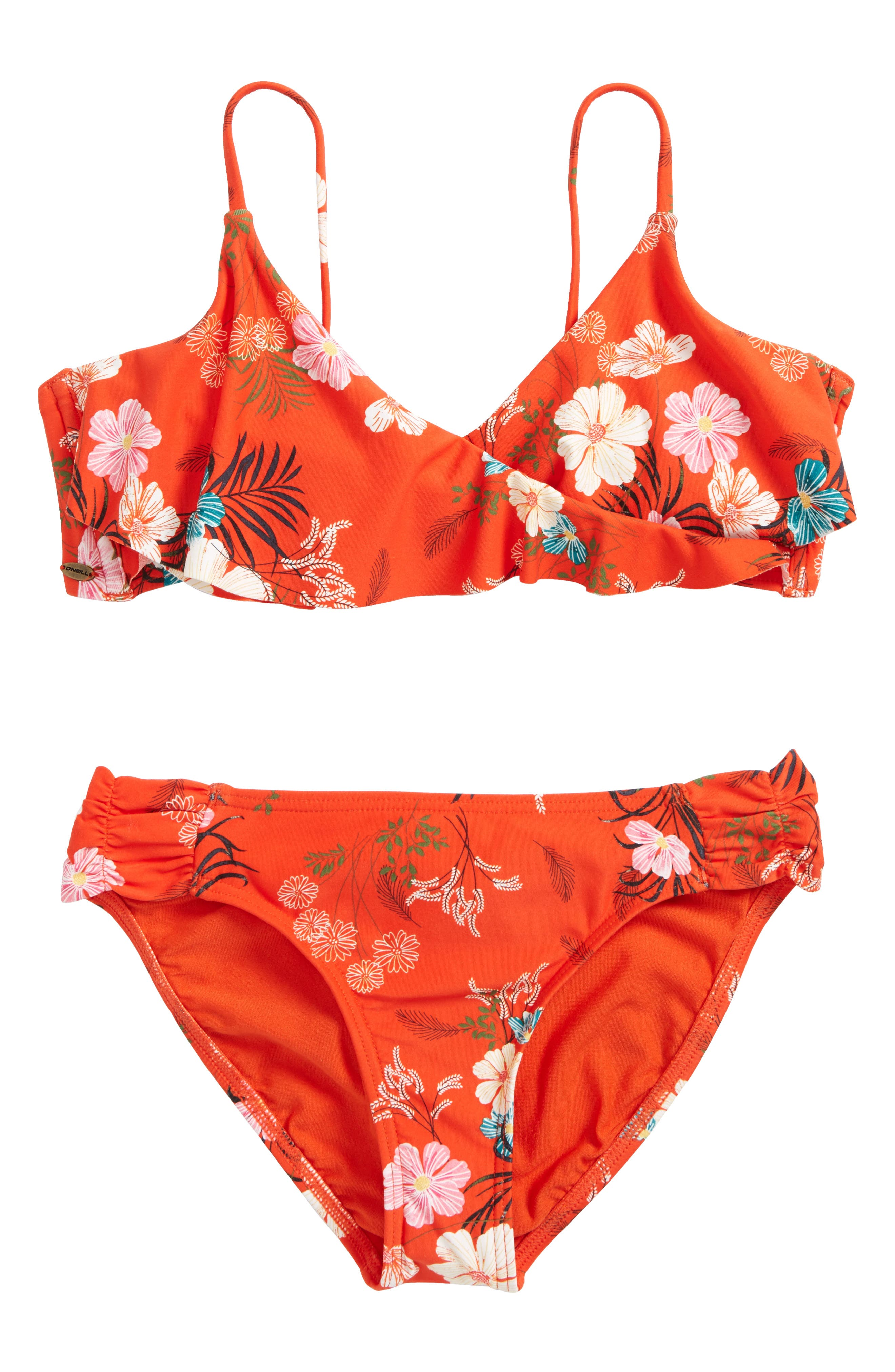 Lucy Floral Ruffle Two-Piece Swimsuit,                         Main,                         color, Tigerlily