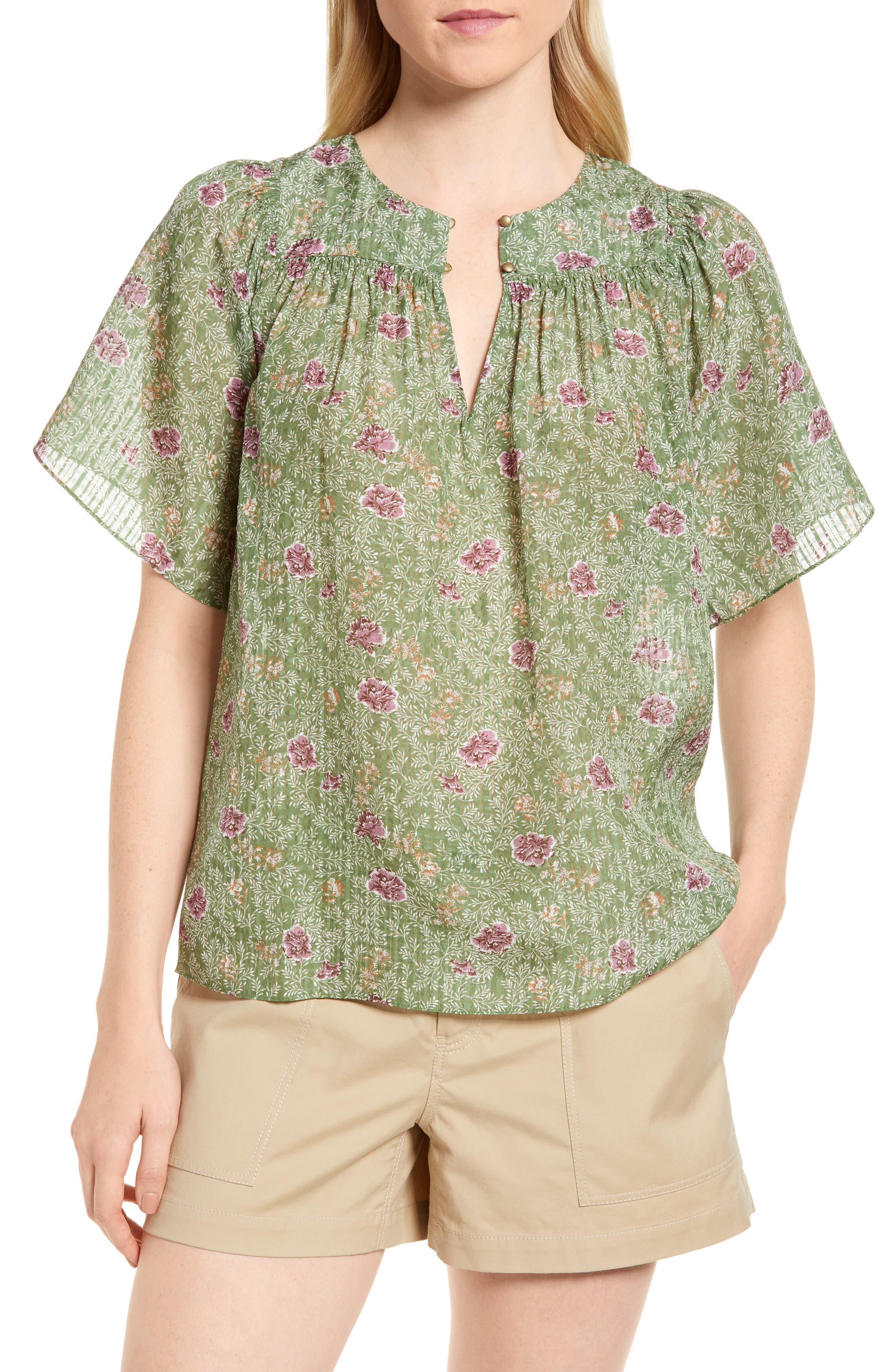 Floral Flutter Sleeve Silk Top,                         Main,                         color, Green Vineyard Jakarta Floral