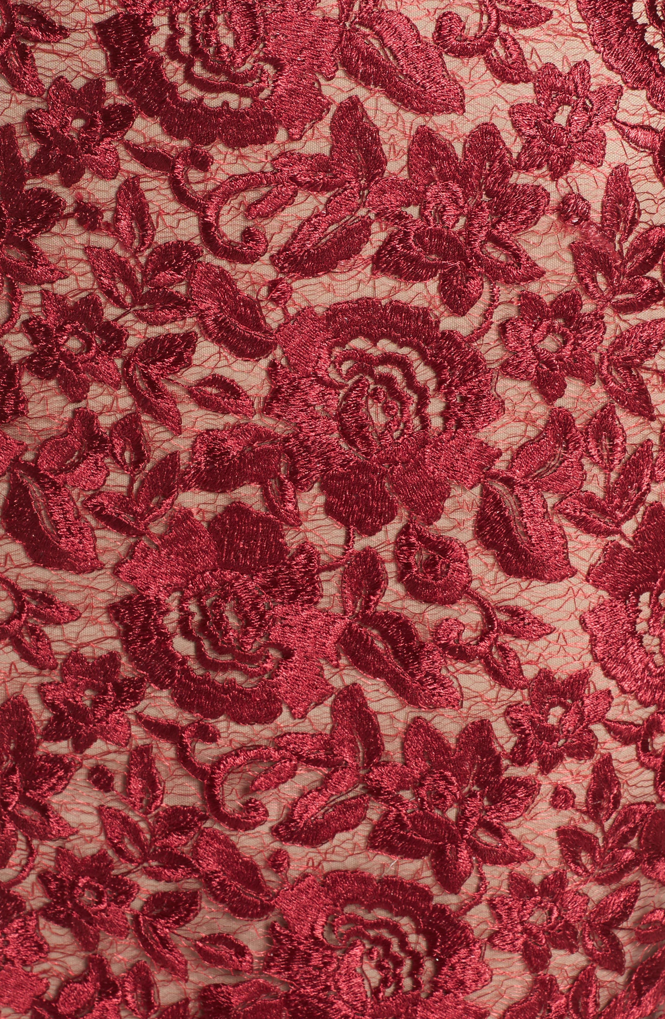 Lace Midi Dress,                             Alternate thumbnail 5, color,                             Red/ Mocha