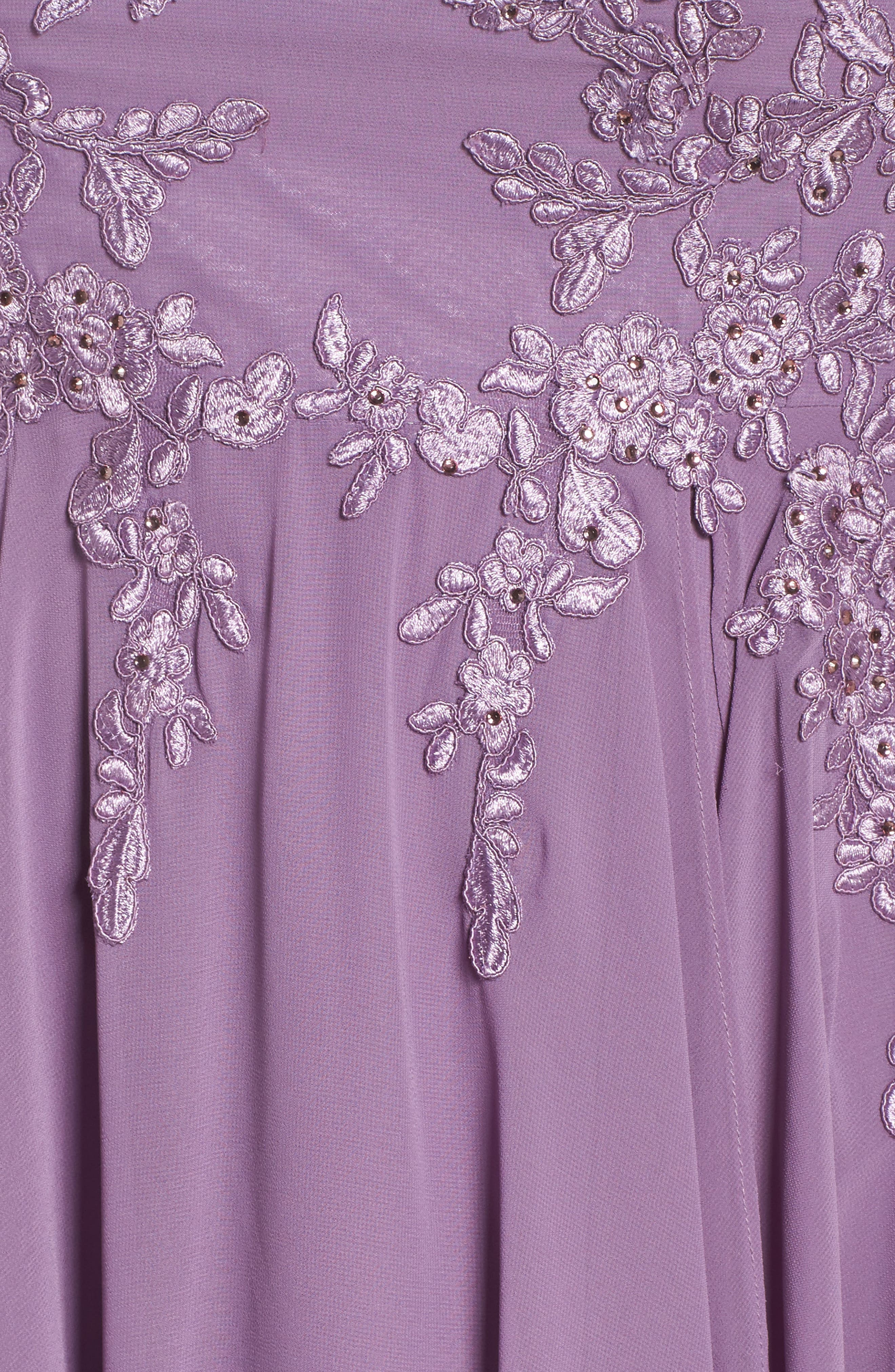 Embroidered Handkerchief Hem Gown,                             Alternate thumbnail 5, color,                             Lavender
