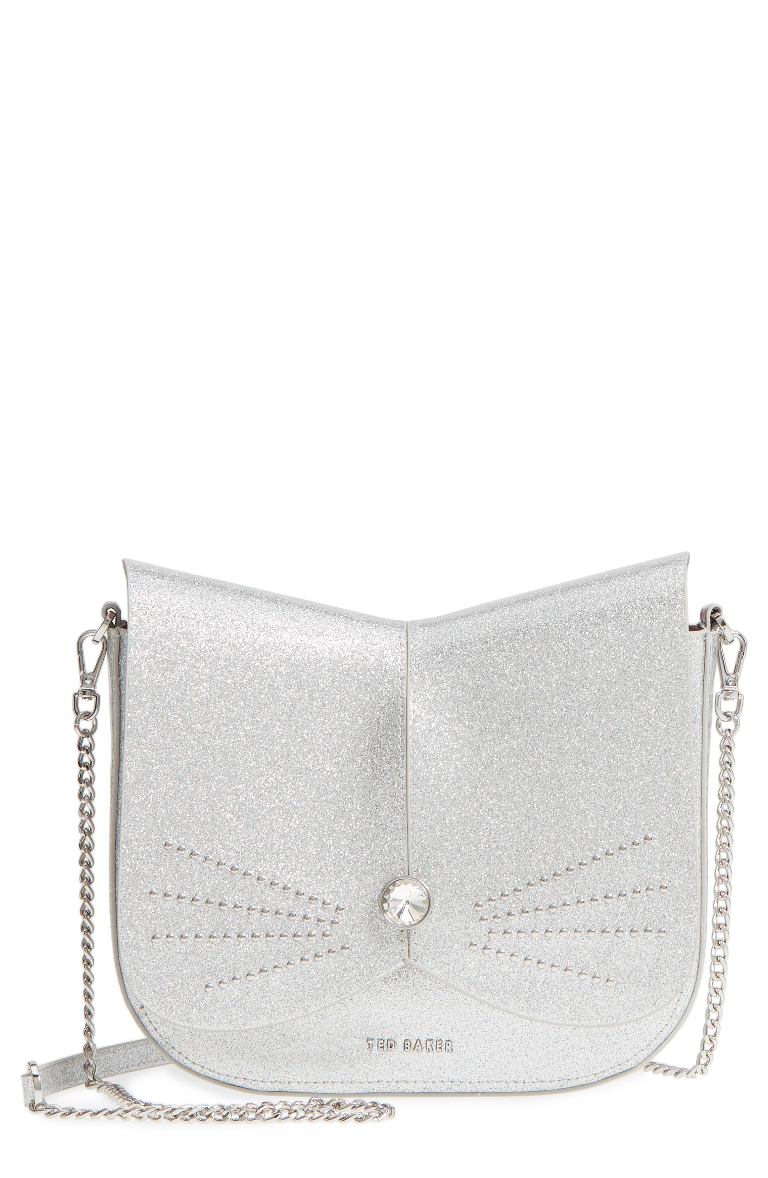 Hildaa Glitter Faux Leather Crossbody Bag,                             Main thumbnail 1, color,                             Silver