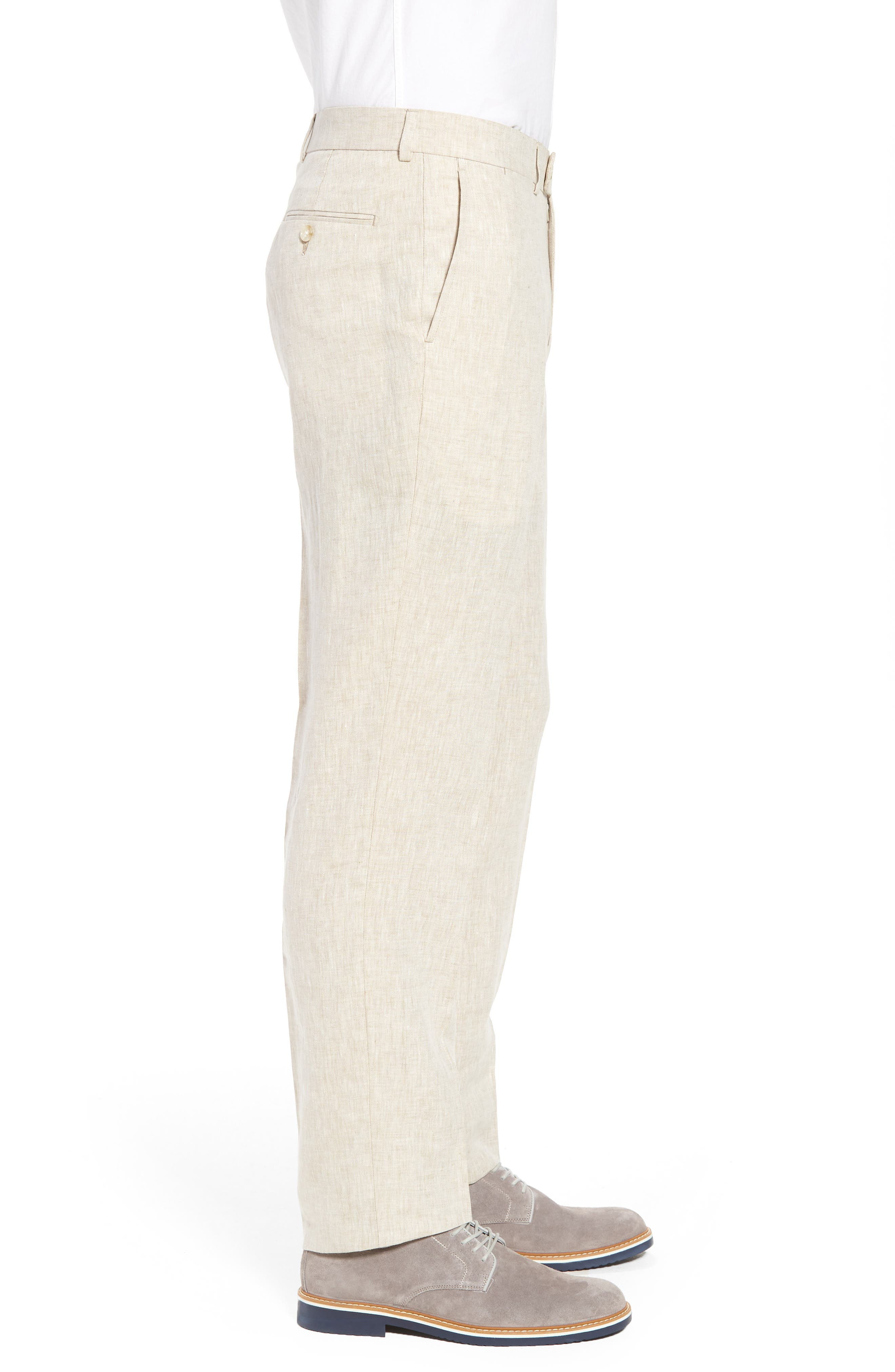 Andrew AIM Flat Front Linen Trousers,                             Alternate thumbnail 3, color,                             Natural