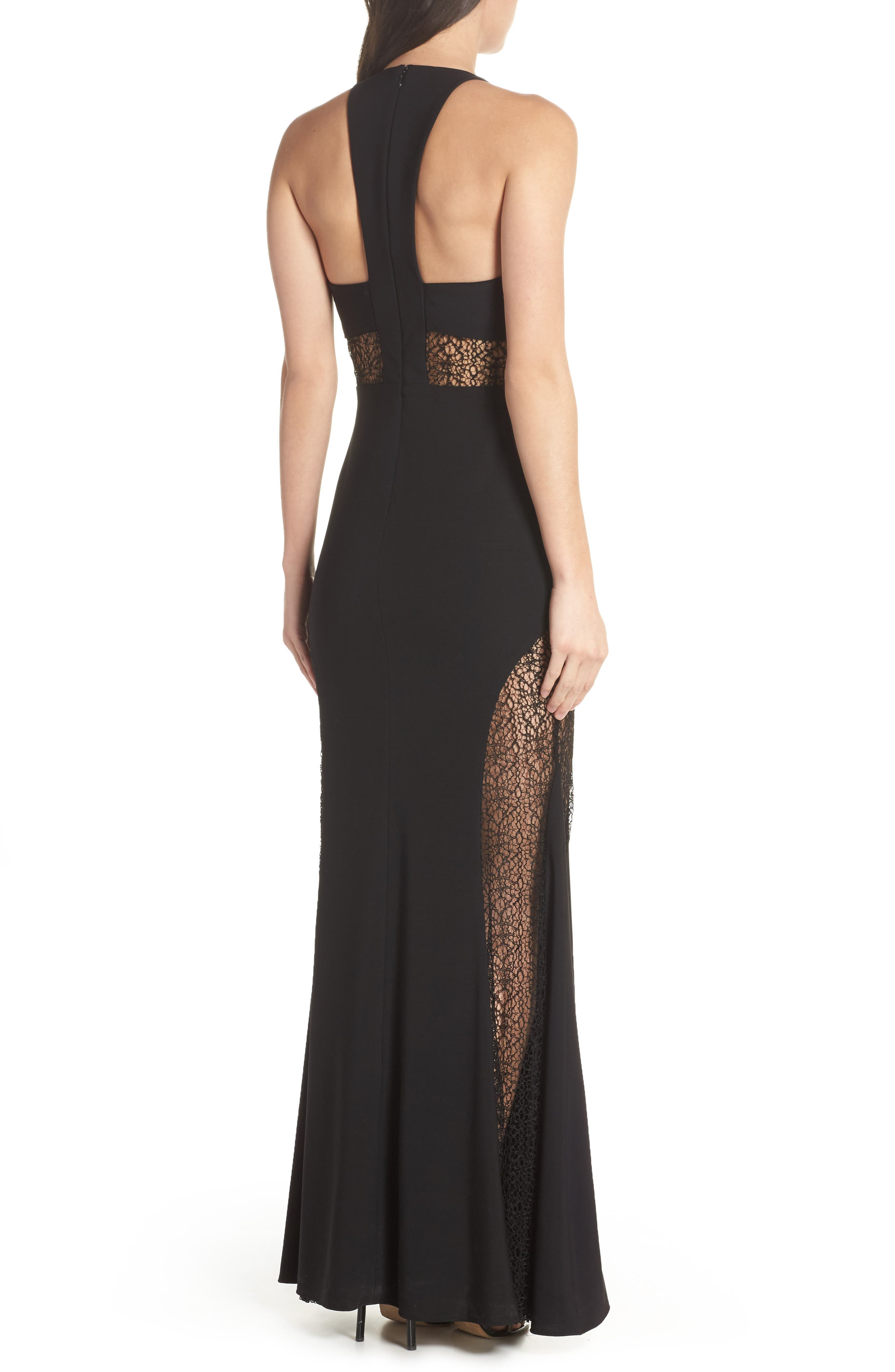 Lace Inset Gown,                             Alternate thumbnail 2, color,                             Black