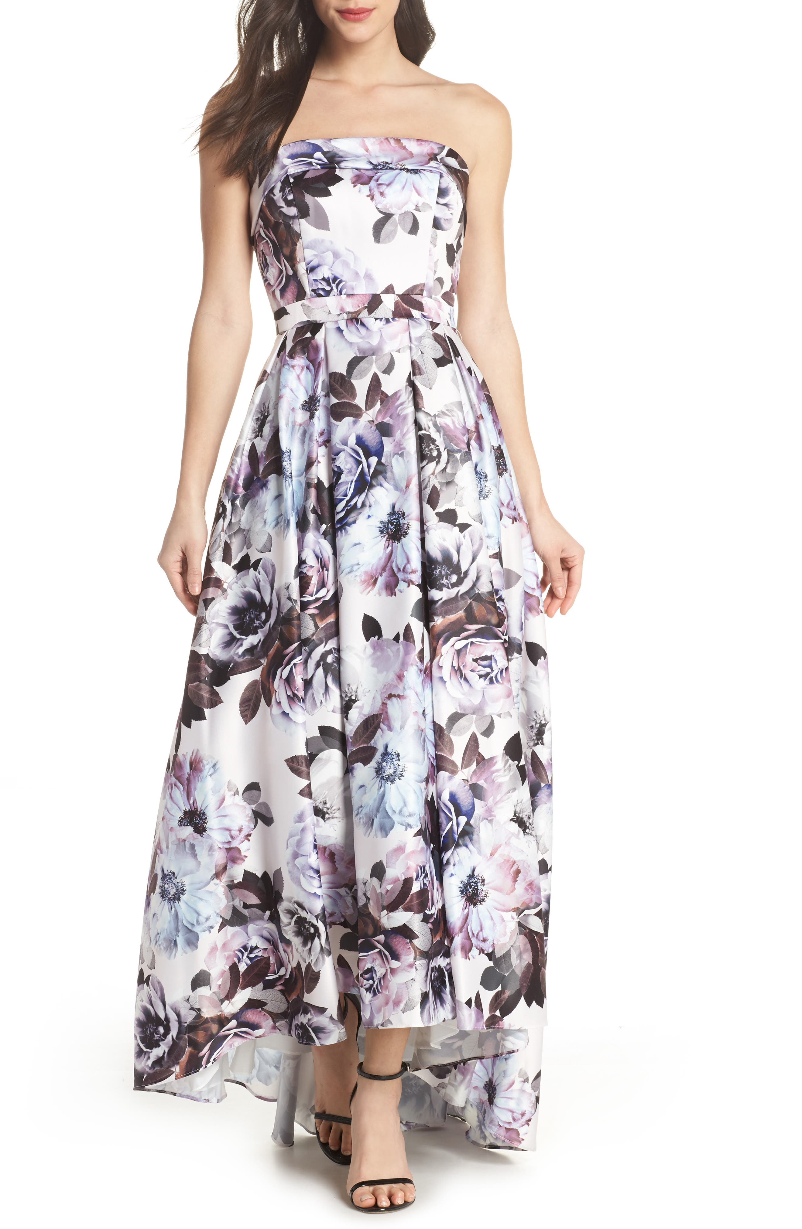 Floral Bustier High/Low Gown,                             Main thumbnail 1, color,                             Blue Multi