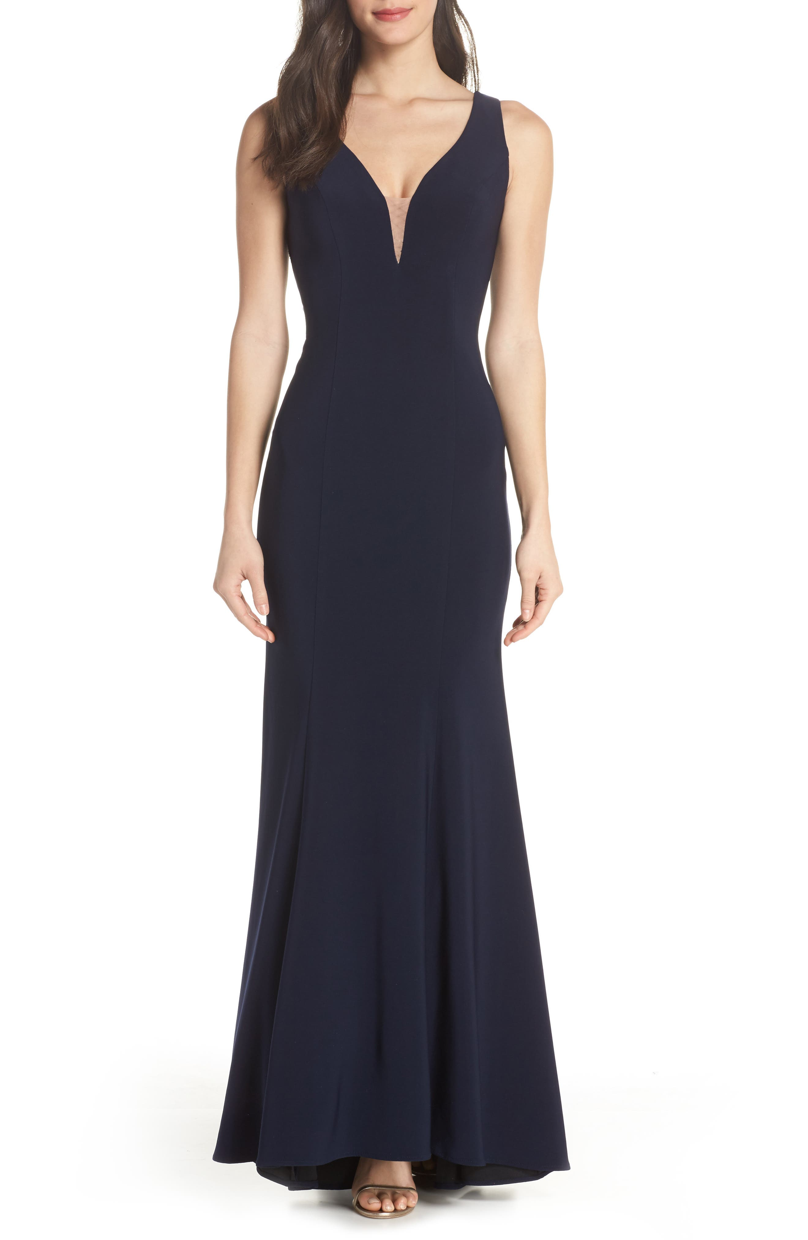 Deep V-Neck Trumpet Gown,                             Main thumbnail 1, color,                             Navy