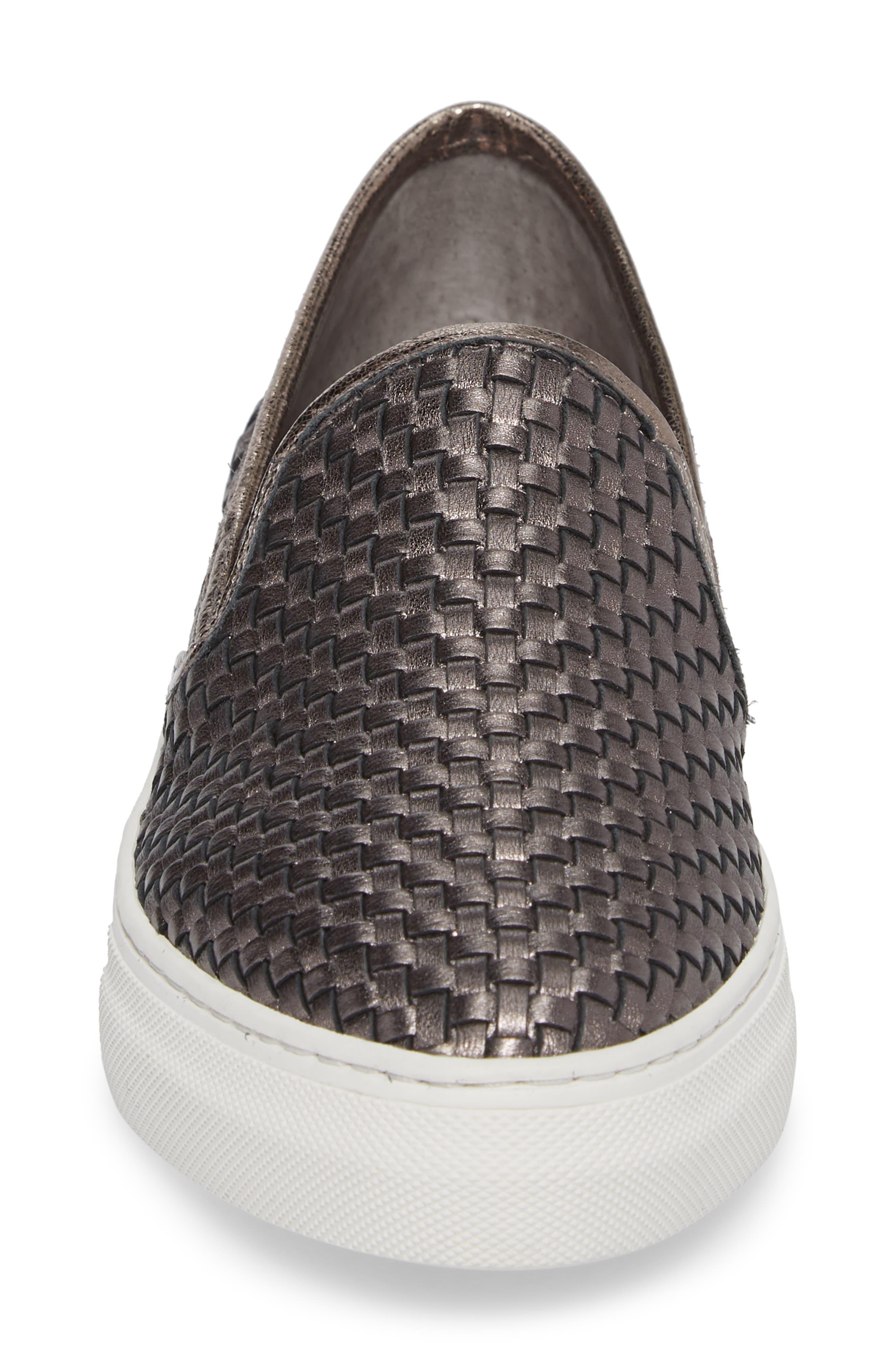 Flynn Slip-On Sneaker,                             Alternate thumbnail 4, color,                             Pewter Leather