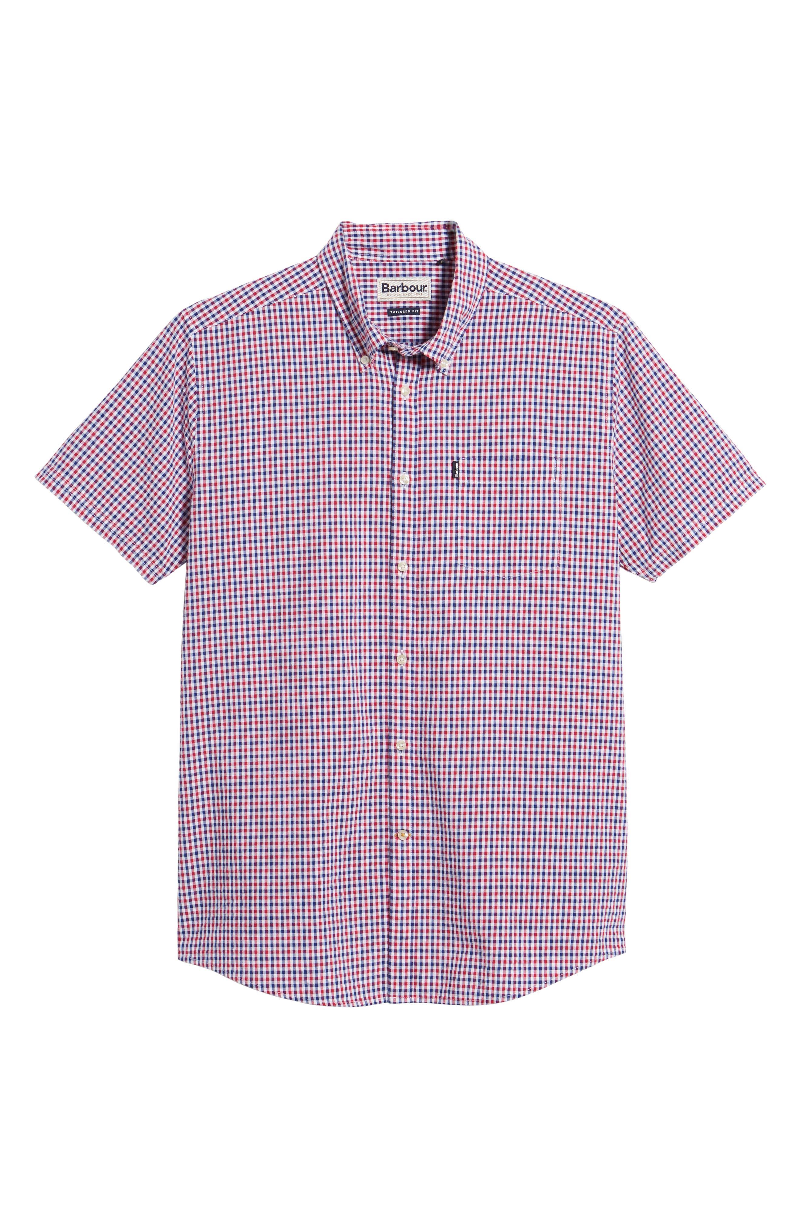Taylor Regular Fit Check Short Sleeve Sport Shirt,                             Alternate thumbnail 6, color,                             Navy