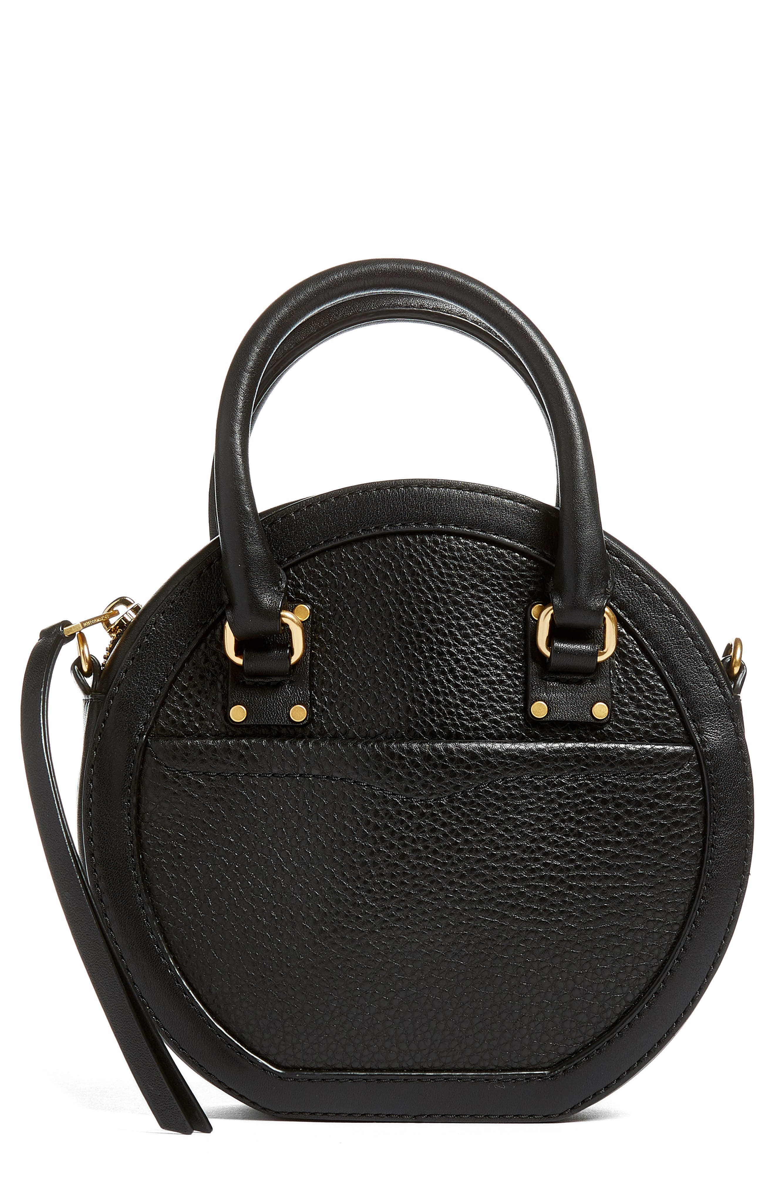Bree Circle Leather Crossbody Bag,                             Main thumbnail 1, color,                             Black