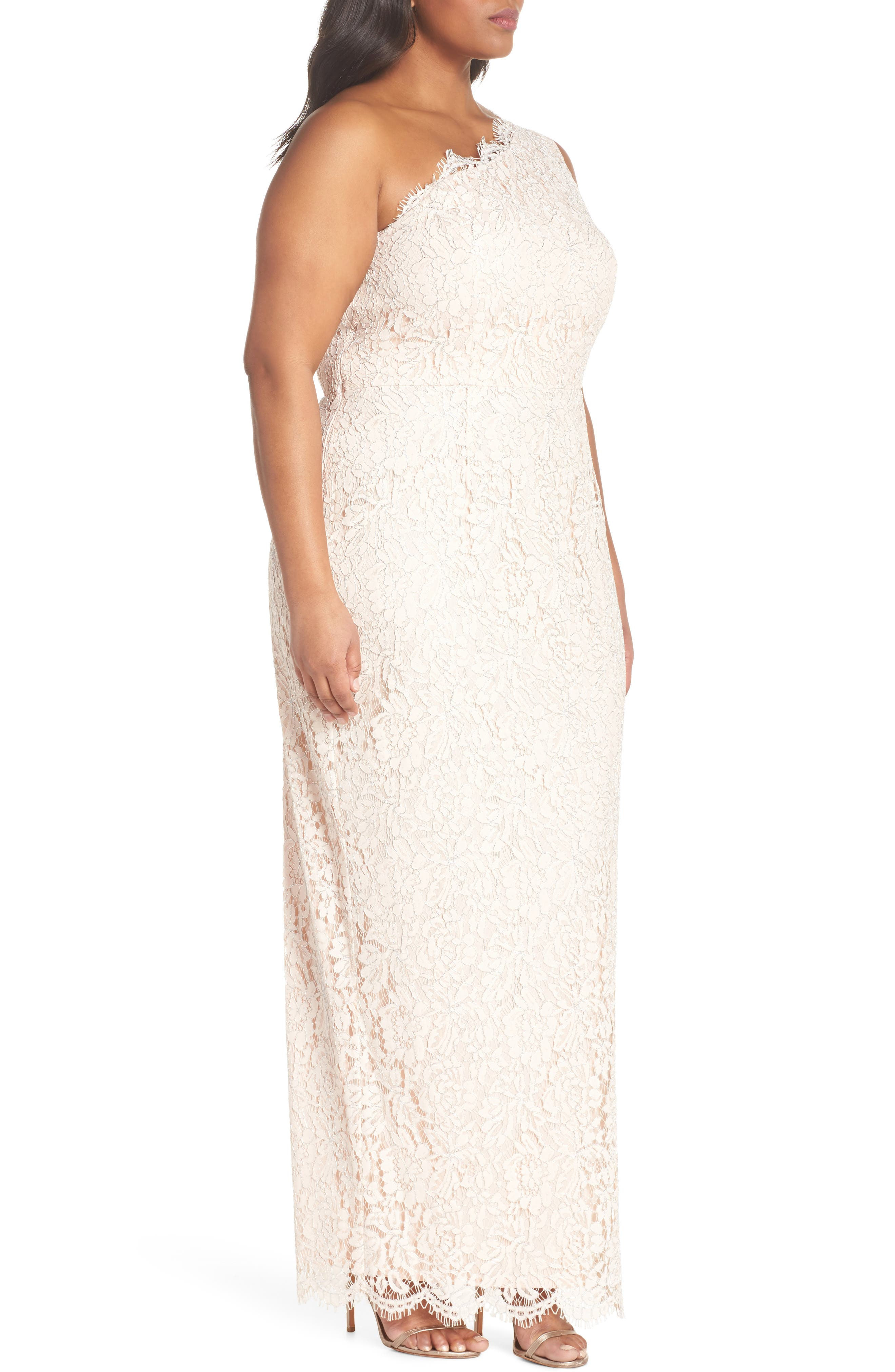 One-Shoulder Metallic Lace Gown,                             Alternate thumbnail 3, color,                             Blush