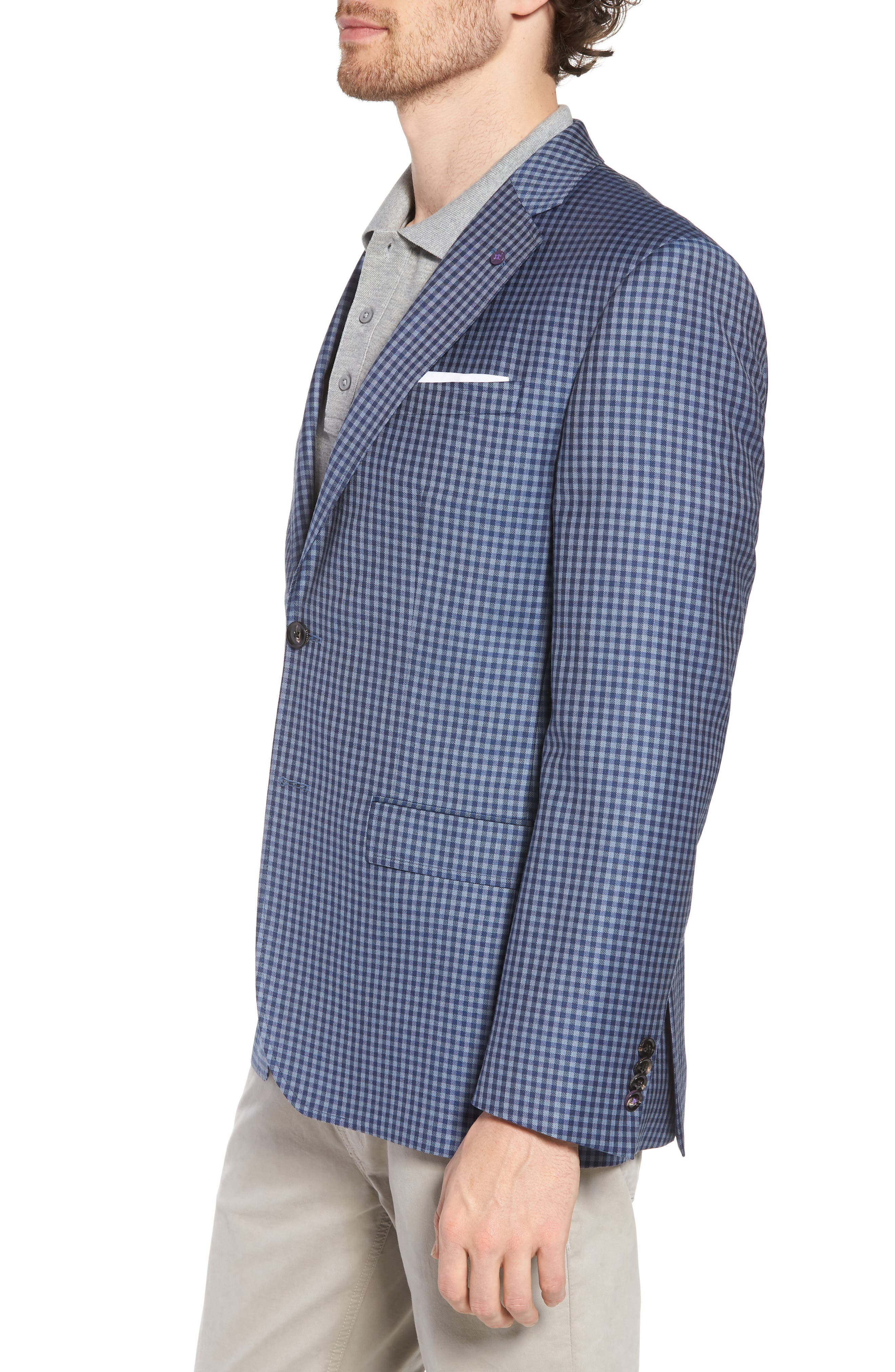 Jay Trim Fit Check Wool Sport Coat,                             Alternate thumbnail 3, color,                             Blue